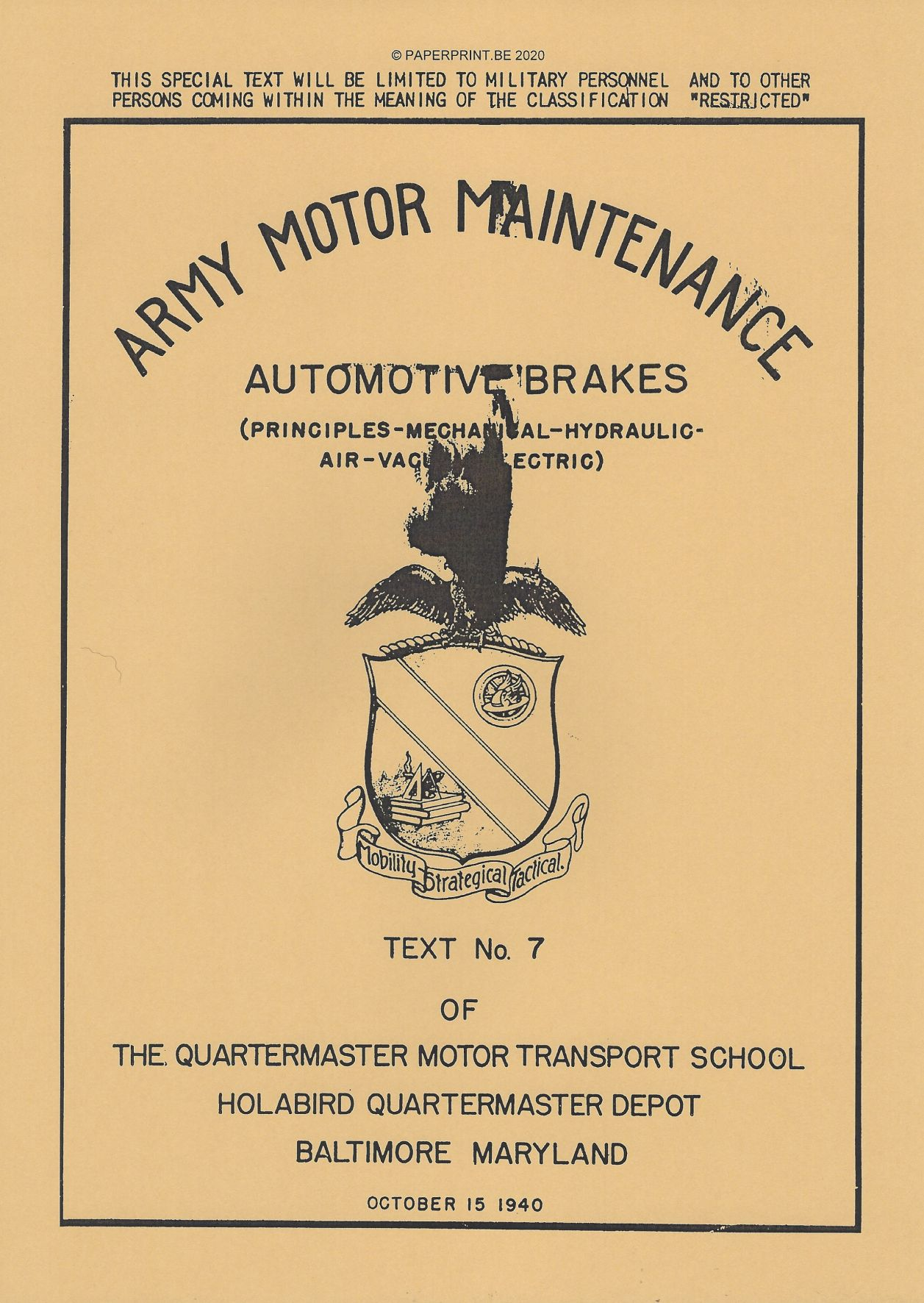 ARMY MOTOR MAINTENANCE N° 7 AUTOMOTIVE BRAKES US