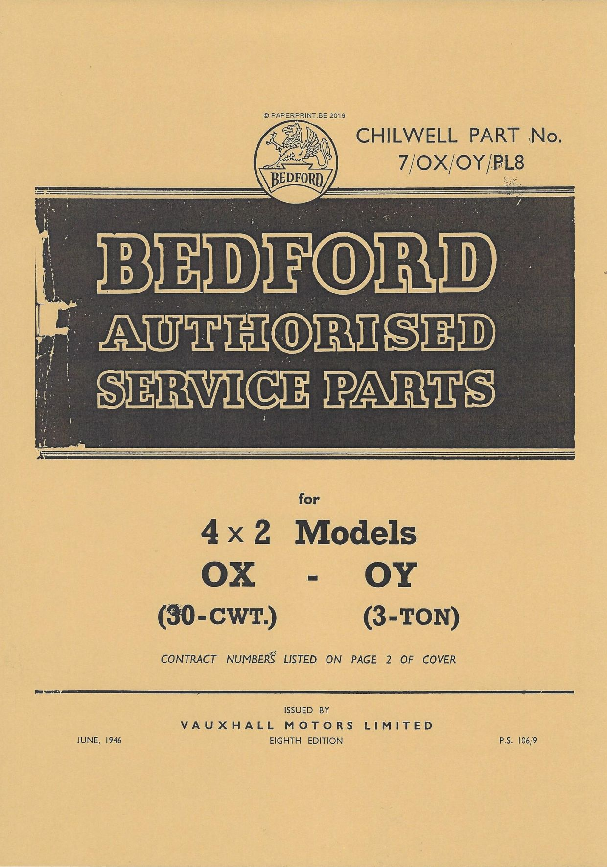 BEDFORD OX OY AUTHORISED SERVICE PARTS