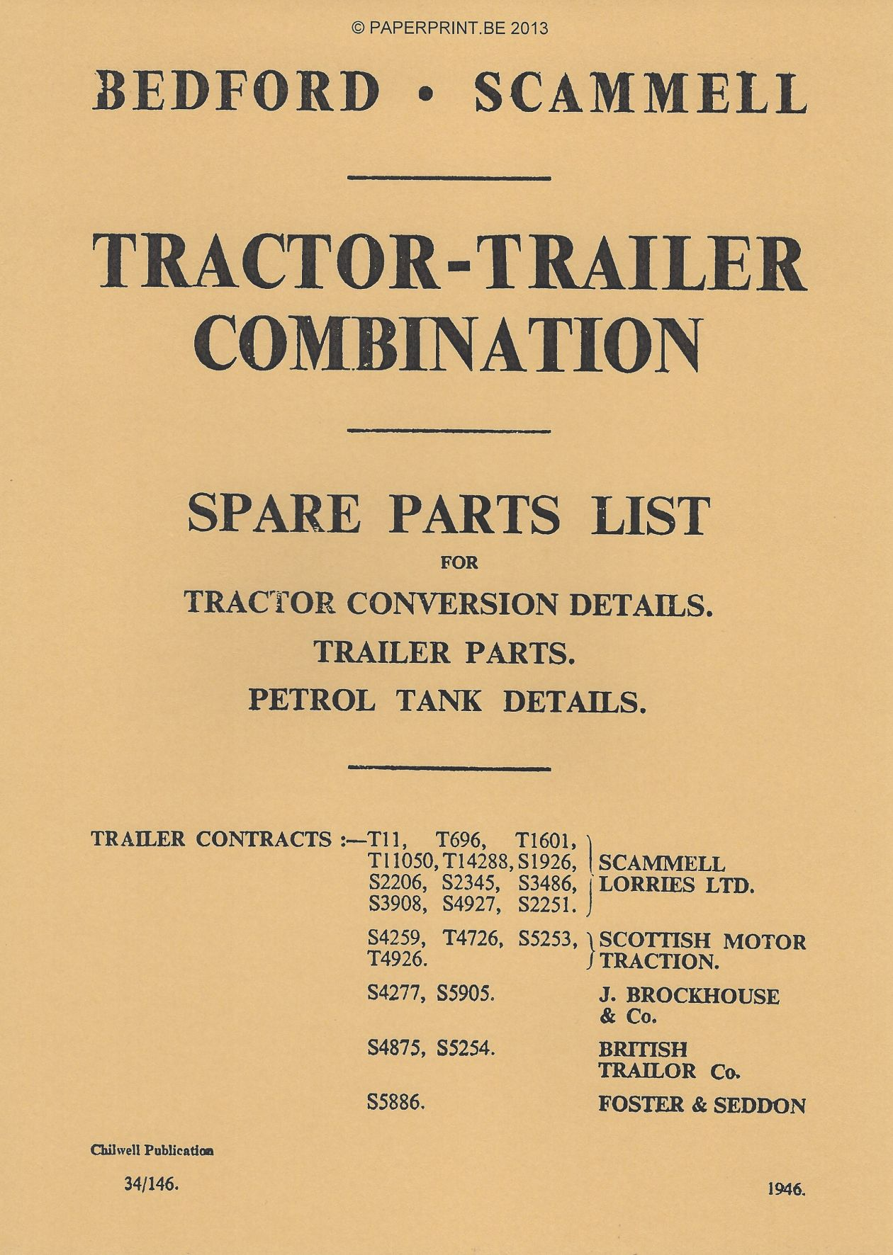 BEDFORD-SCAMMELL TRACTOR-TRAILER COMBINATION SPARE PARTS LIST
