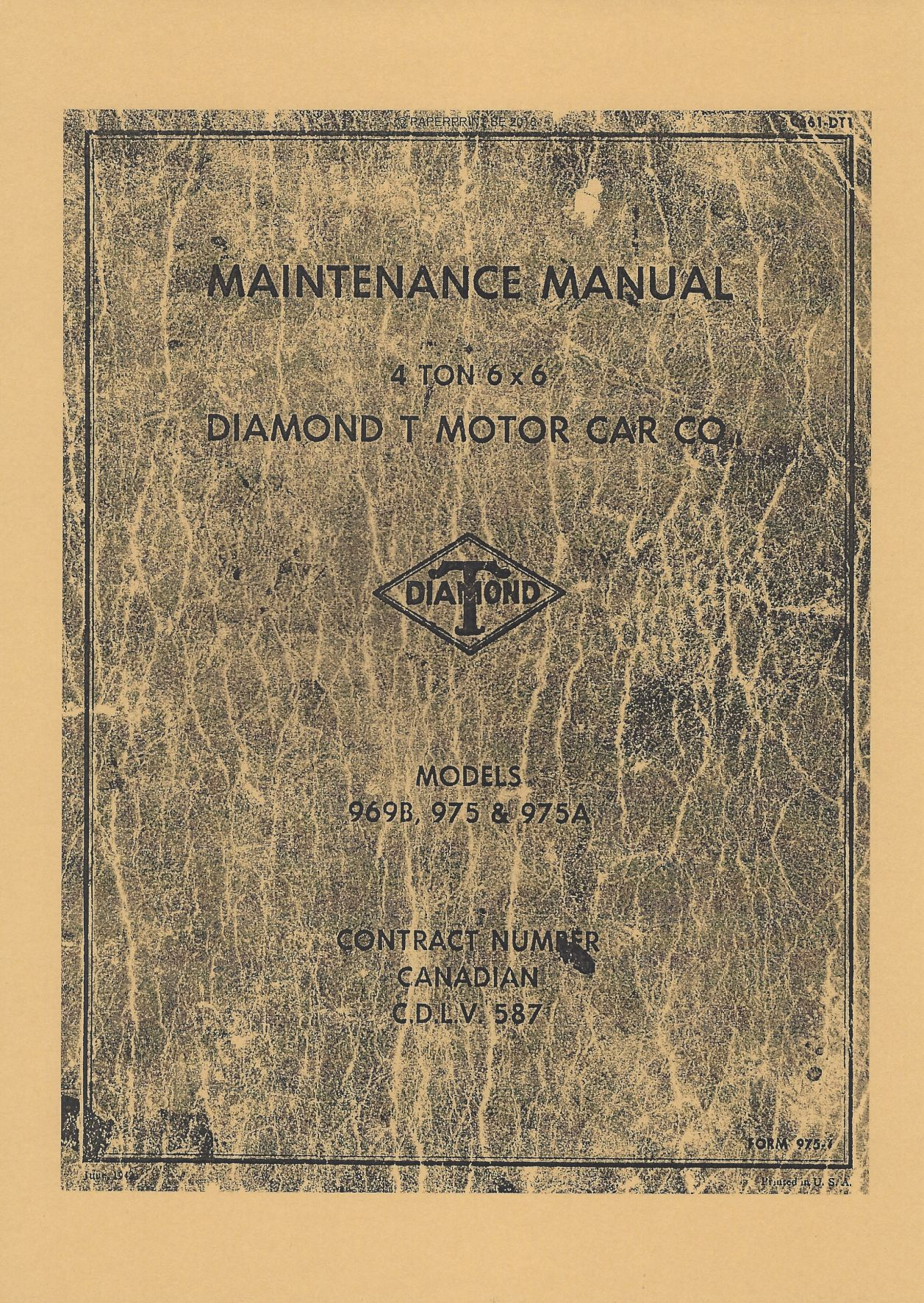C661-DT1 DIAMOND T 969B, 975 & 975A MAINTENANCE MANUAL