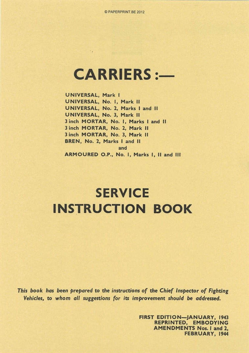 CARRIERS SERVICE INSTRUCTION BOOK