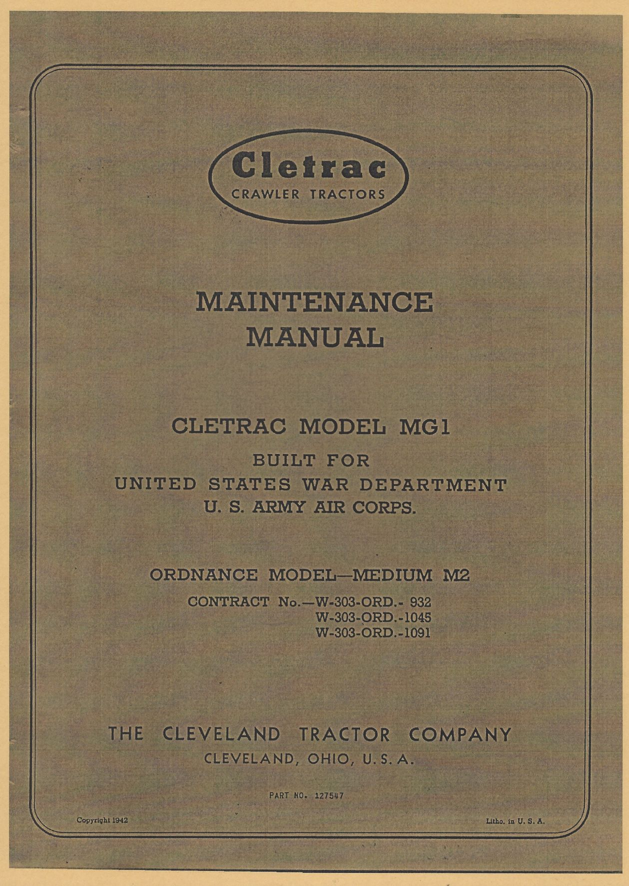 CLETRAC MAINTENANCE MANUAL US