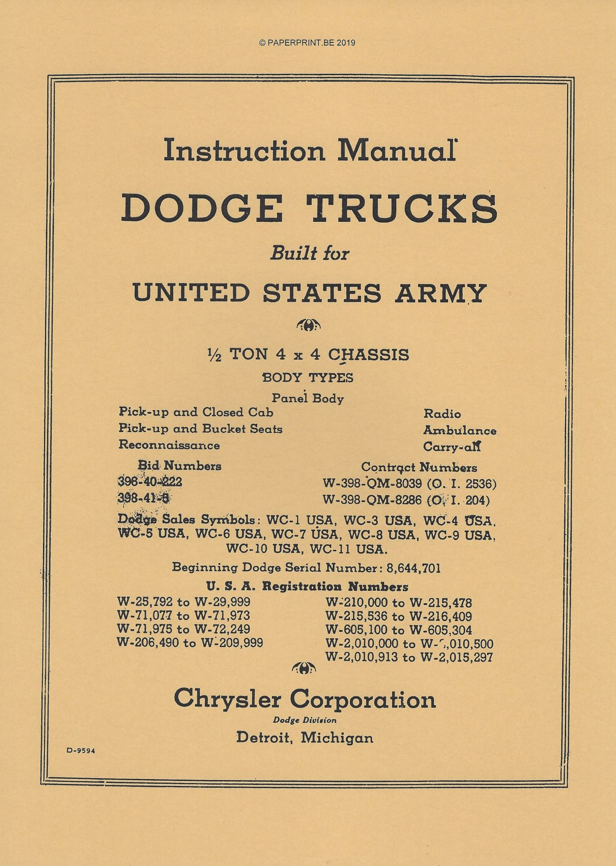 DODGE ½ TON 4x4 1940 INSTRUCTION MANUAL