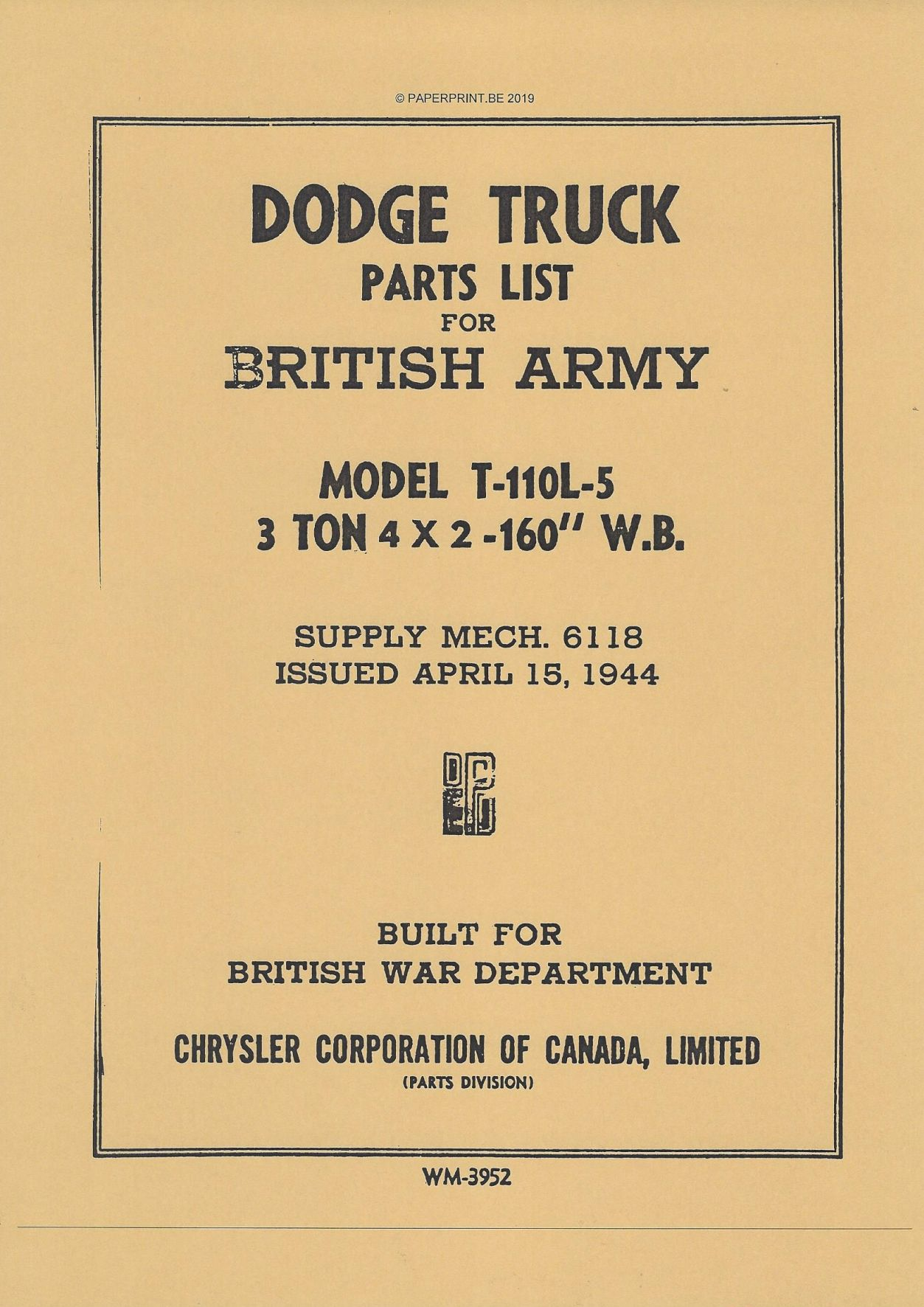 DODGE 3-TON 4 x 2 MODEL T-110L-5 PARTS LIST