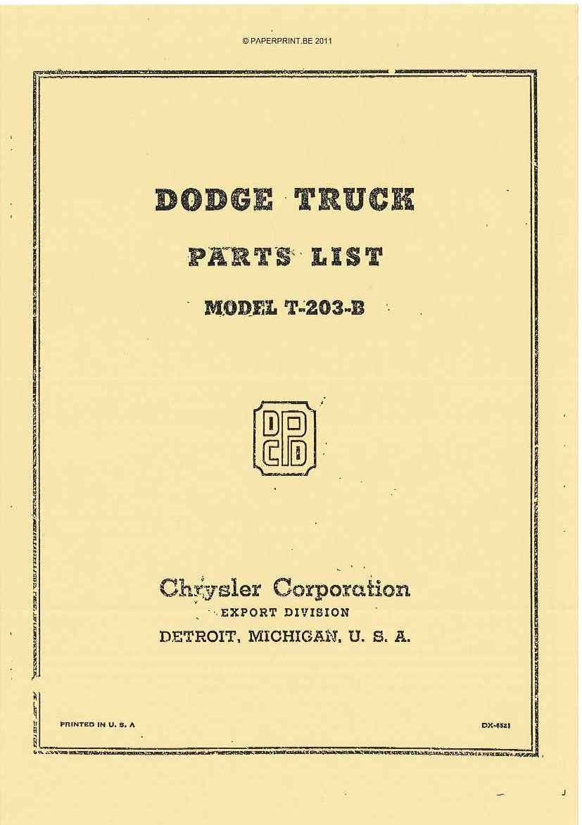 DODGE TRUCK PARST LIST MODEL T-203-B