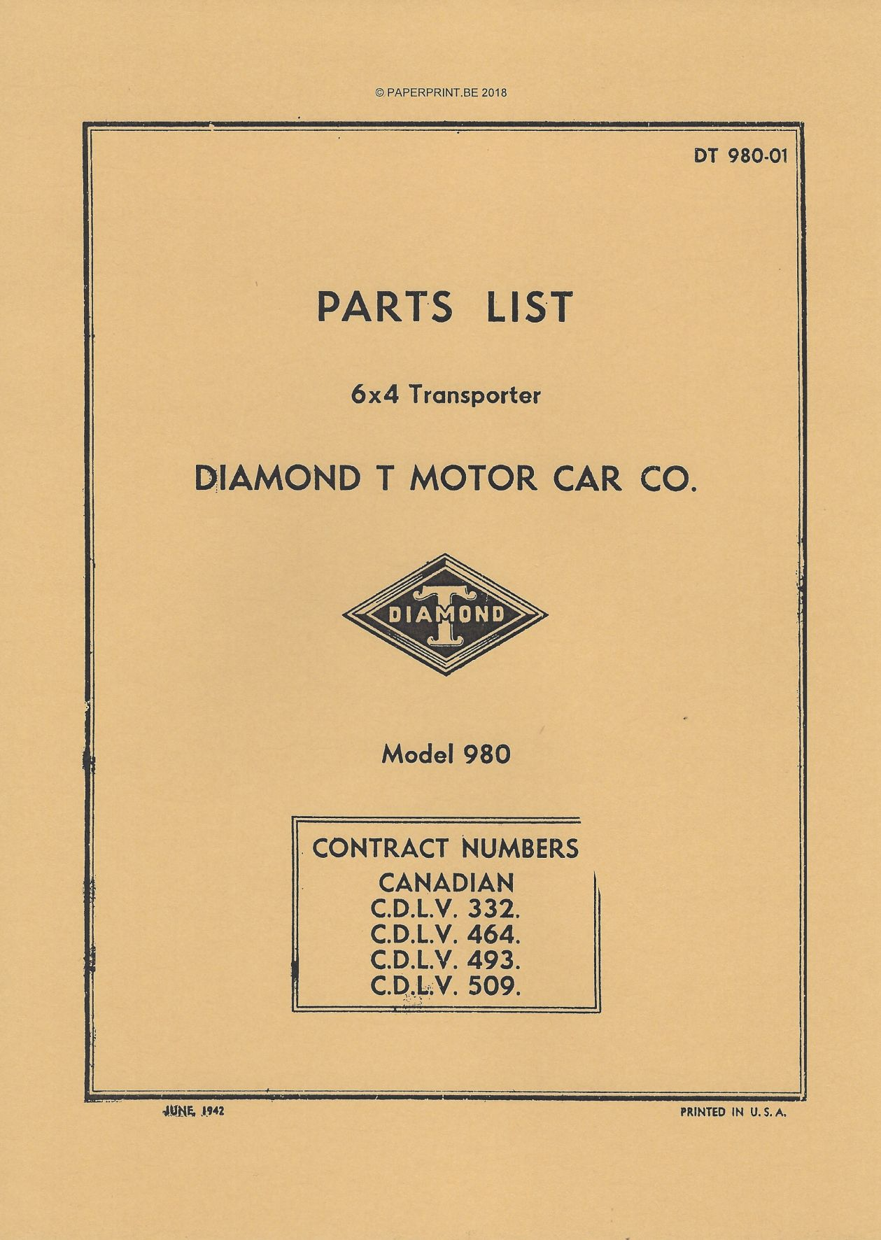 DT980-01 PARTS LIST CANADIAN DIAMOND T 980