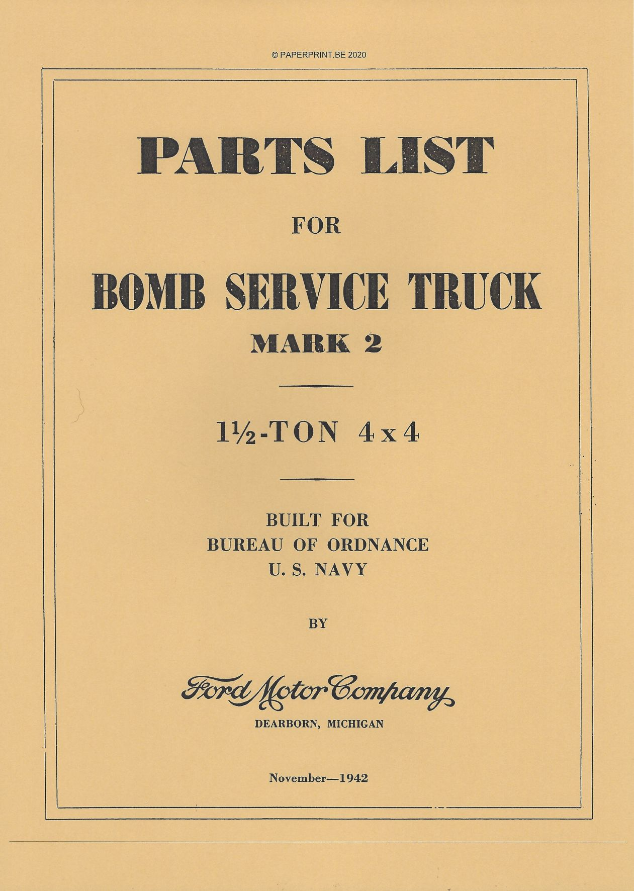 BOMB SERVICE TRUCK MARK II PARTS LIST US