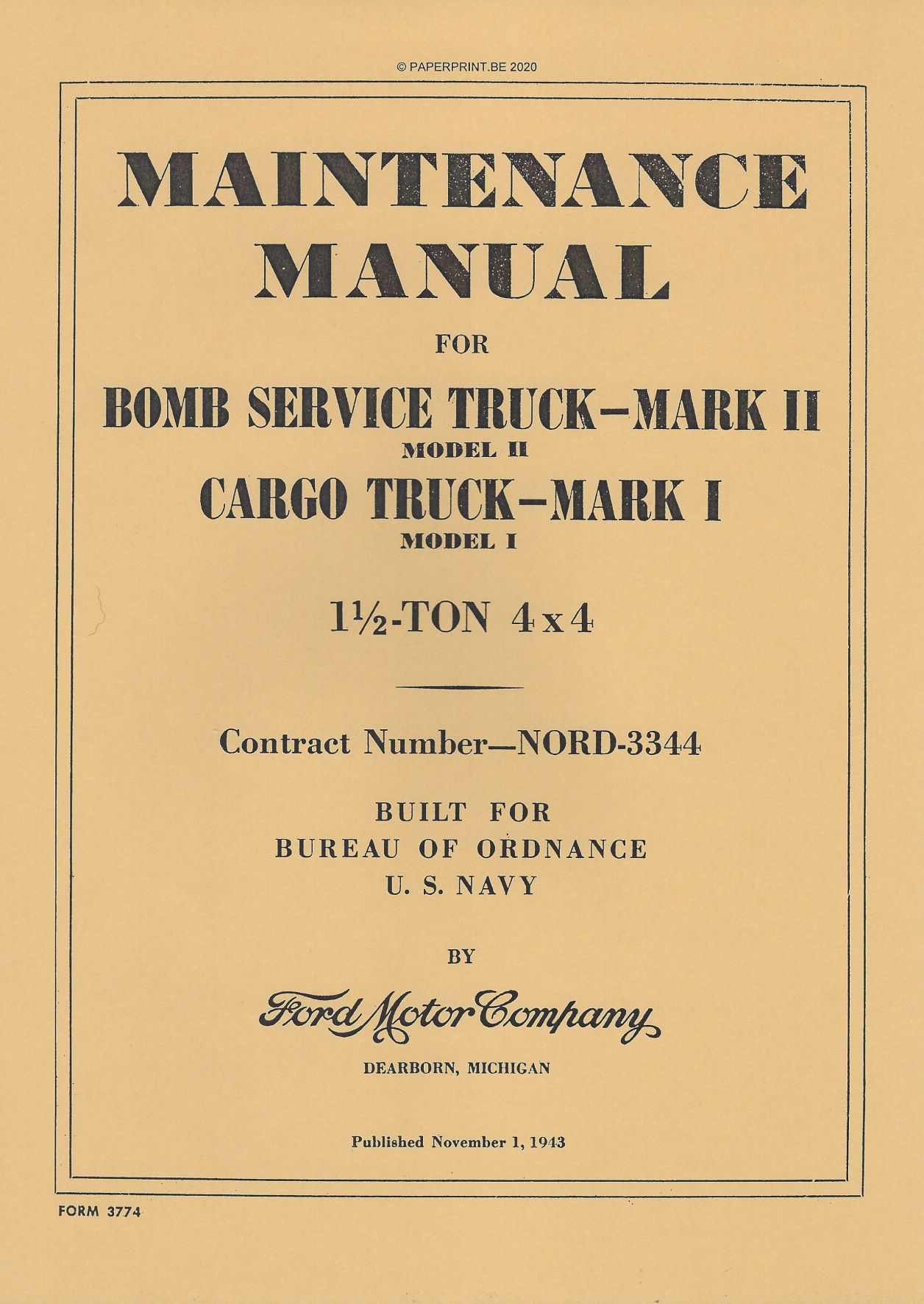 BOMB SERVICE TRUCK MARK II AND CARGO TRUCK MARK I MAINTENANCE MANUAL US