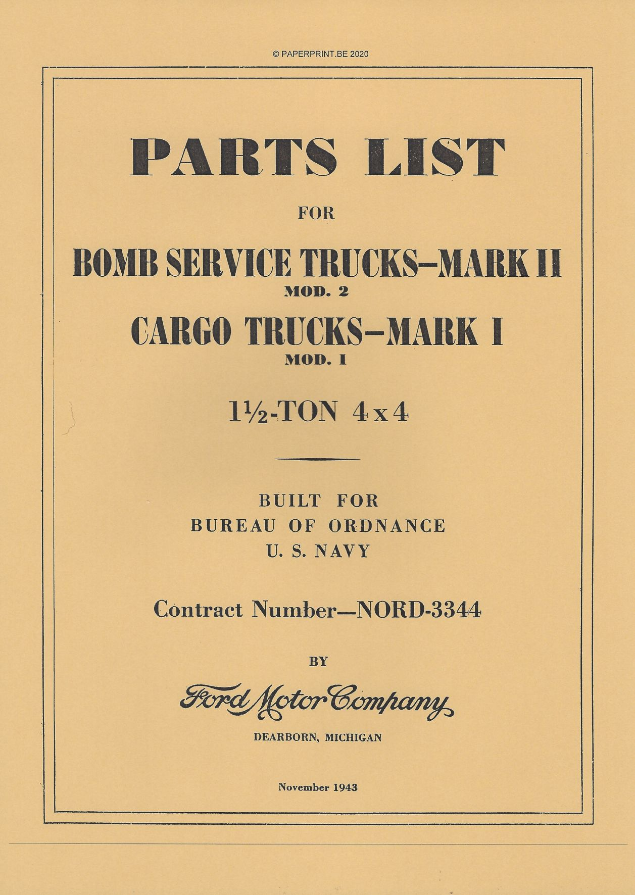 BOMB SERVICE II TRUCK MARK II AND CARGO TRUCK MARK I PARTS LIST US