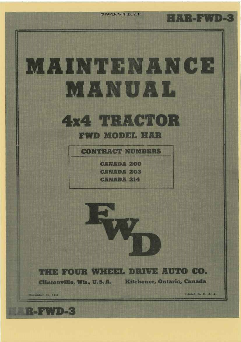 HAR-FWD-3 US MAINTENANCE MANUAL 4x4 TRACTOR FWD MODEL HAR