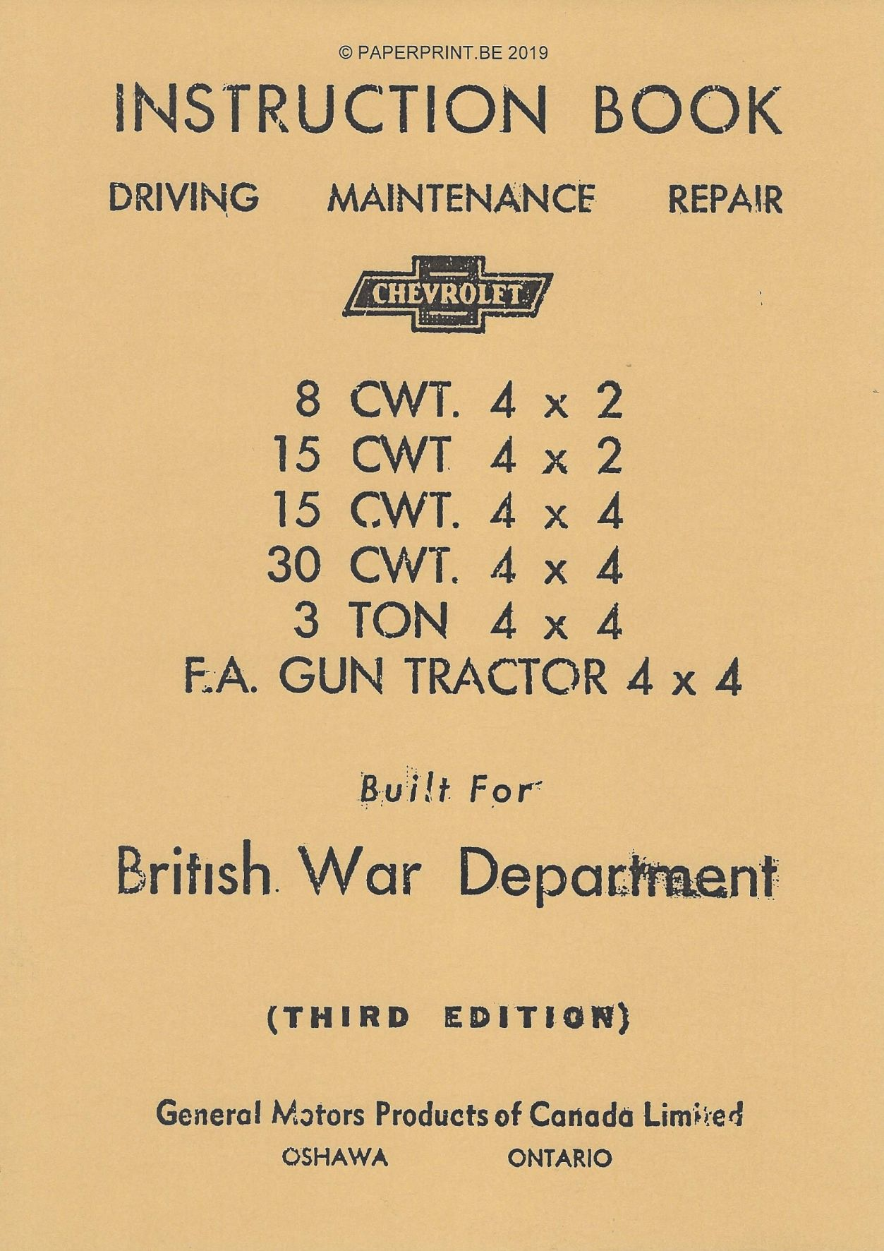 INSTRUCTION BOOK CHEVROLET CWT