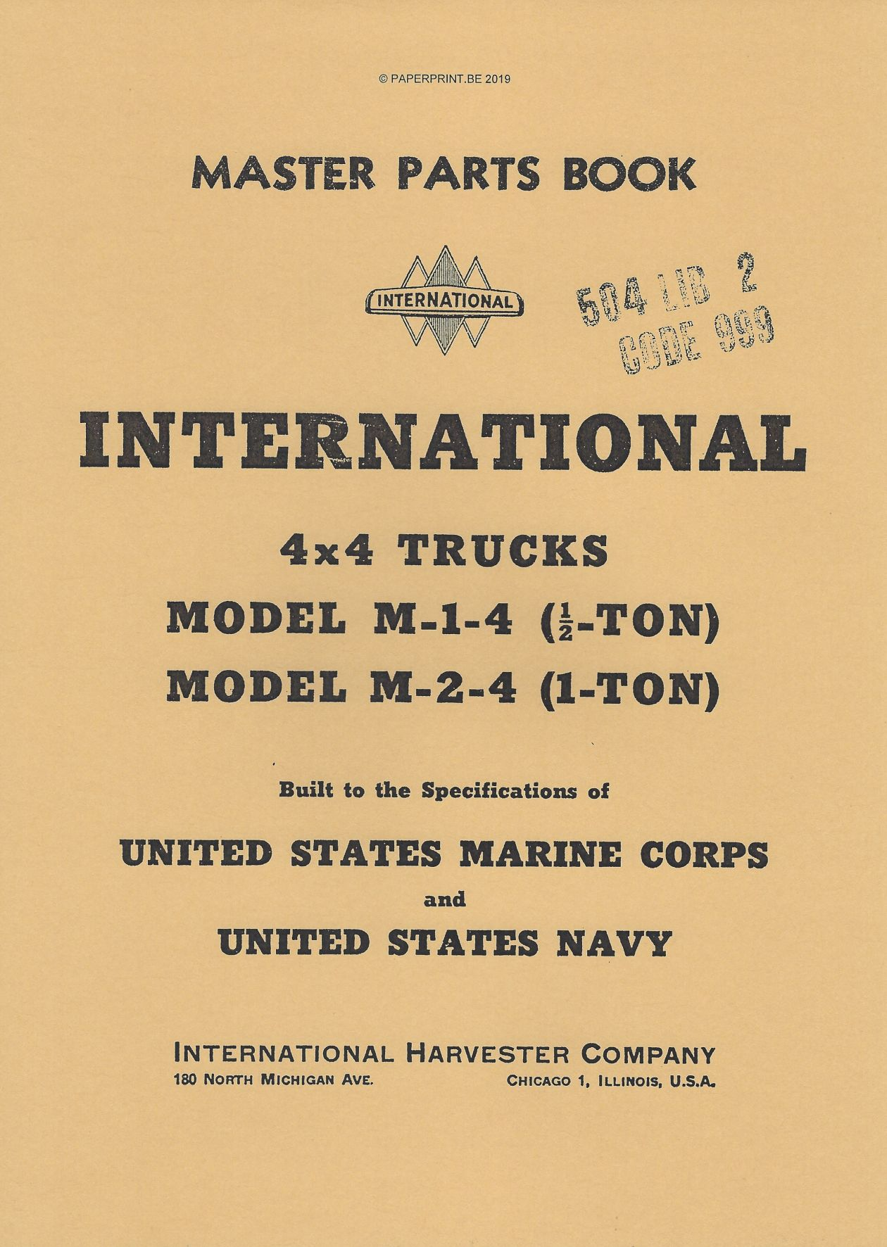 INTERNATIONAL 4 x 4 M-1-4 AND M-2-4 MASTER PARTS BOOK