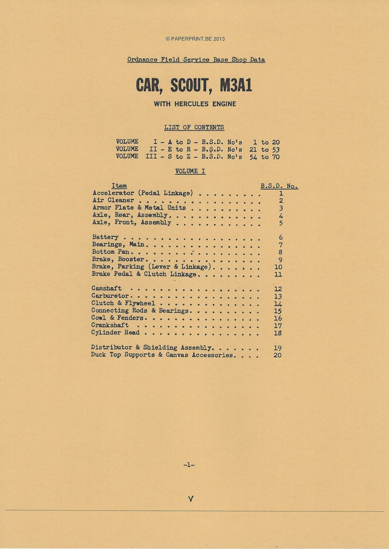 BASE SHOP MANUAL SCOUT CAR M3A1
