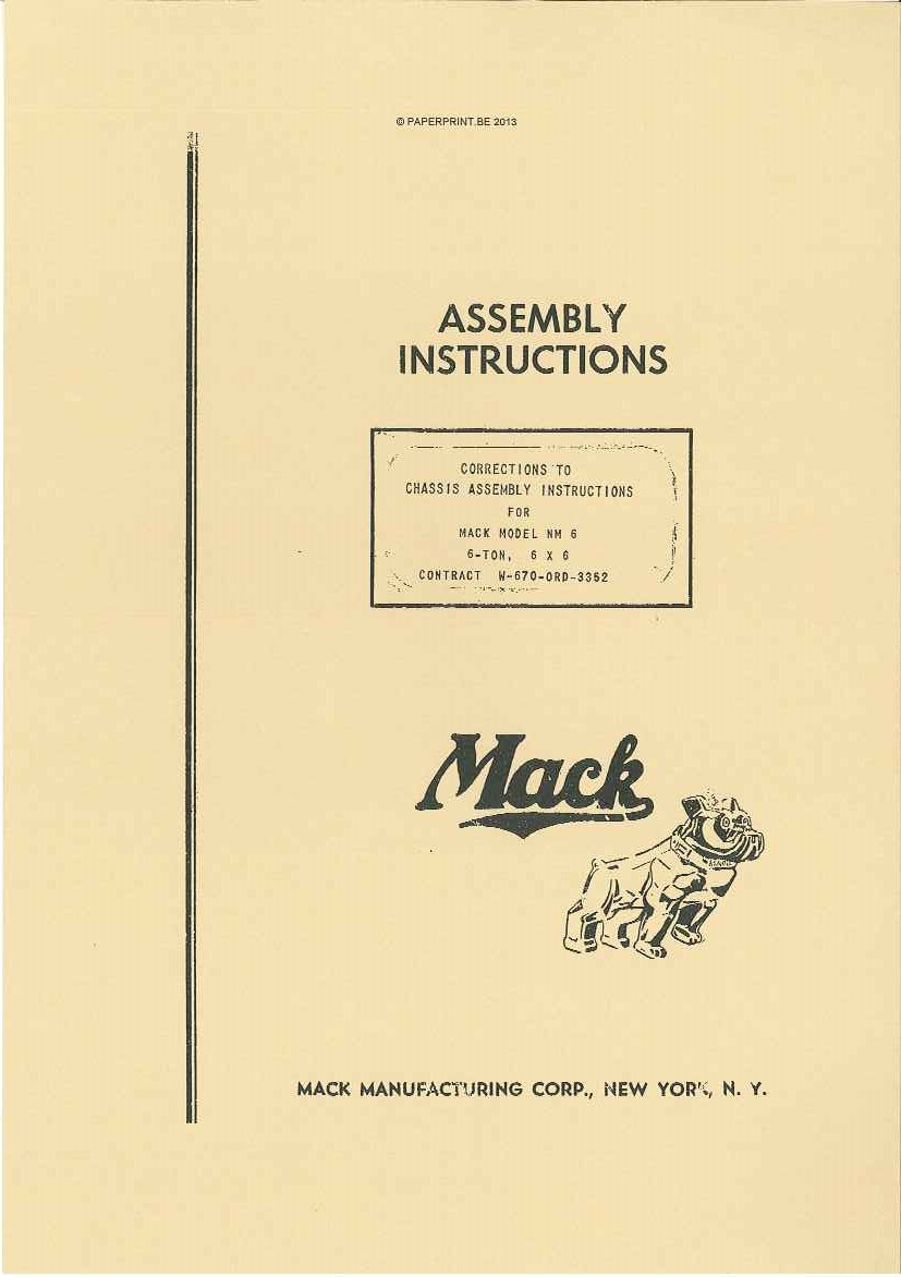 MACK NM ASSEMBLY INSTRUCTIONS