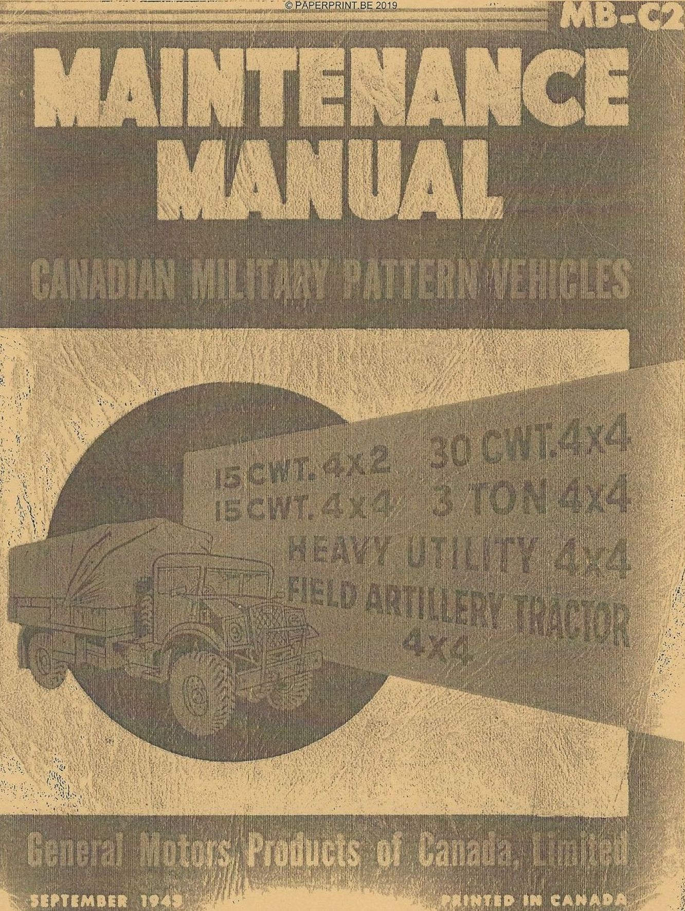 MB-C2 CANADIAN MILITARY PATTERN VEHICLES