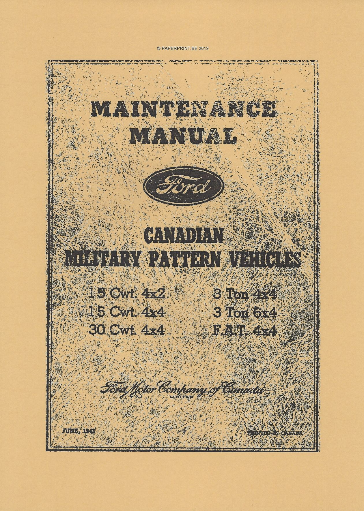 MB-F1 FORD CANADIAN MILITARY PATTERN MAINTENANCE MANUAL
