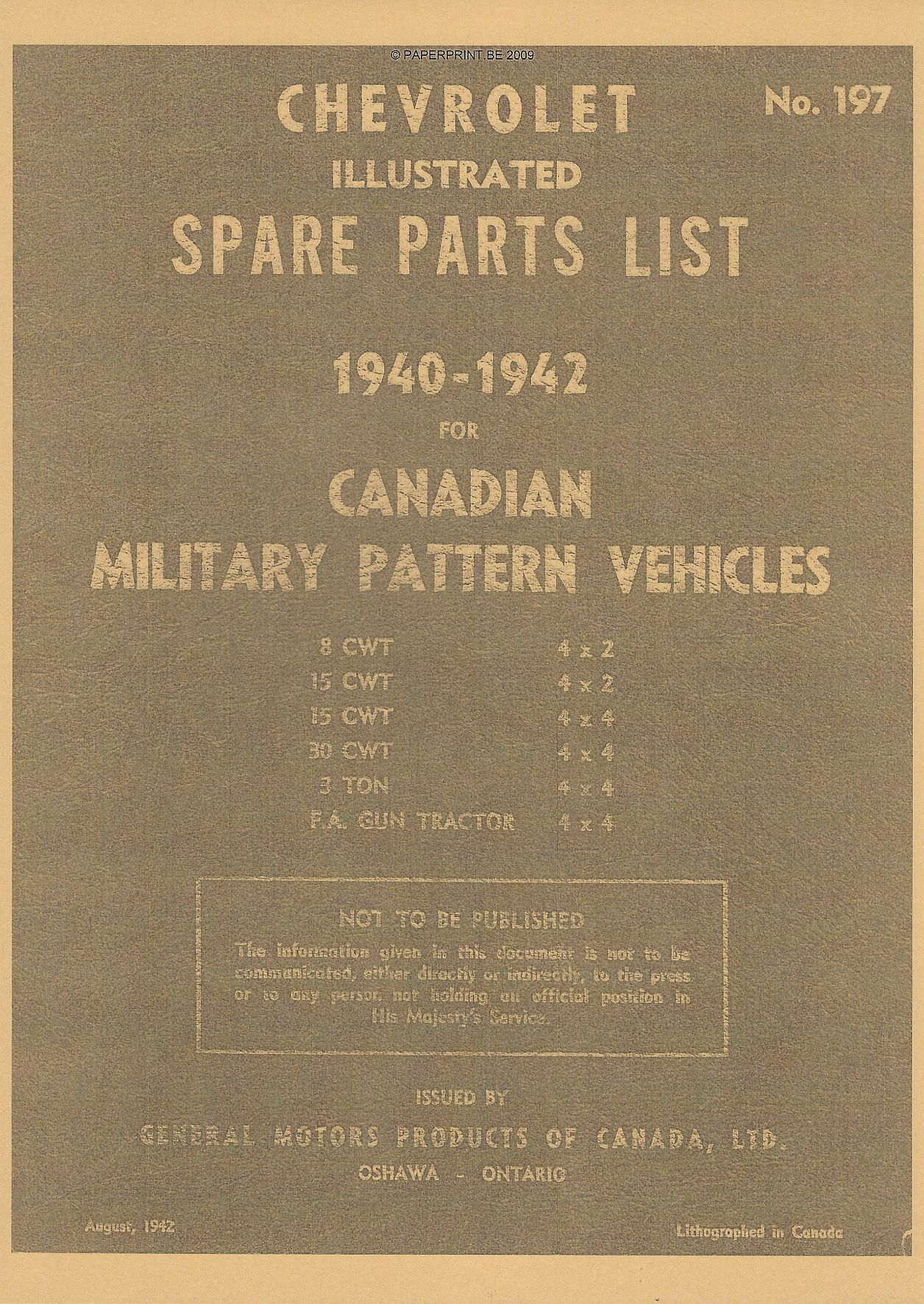 CHEVROLET ILLUSTRATED PARTS LIST N° 197