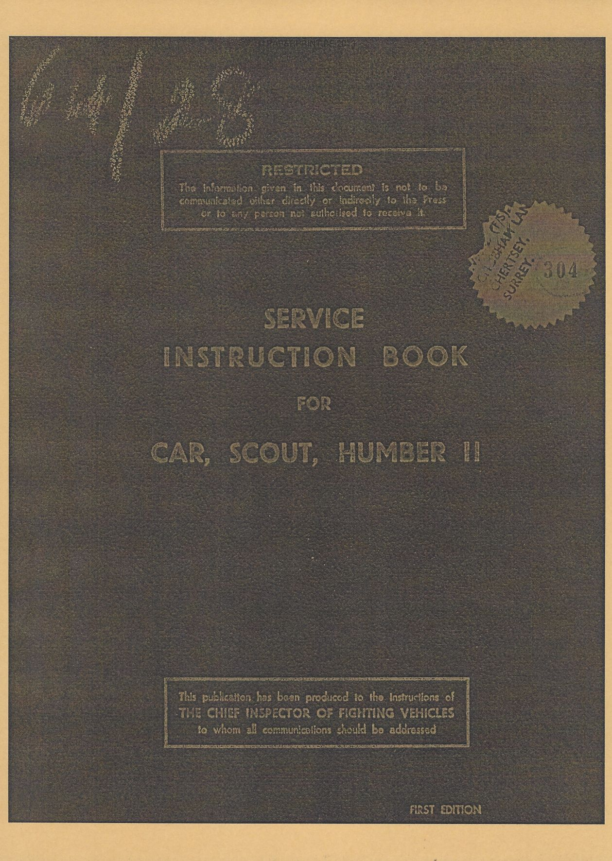 SERVICE INSTRUCTION BOOK FOR HUMBER SCOUT CAR
