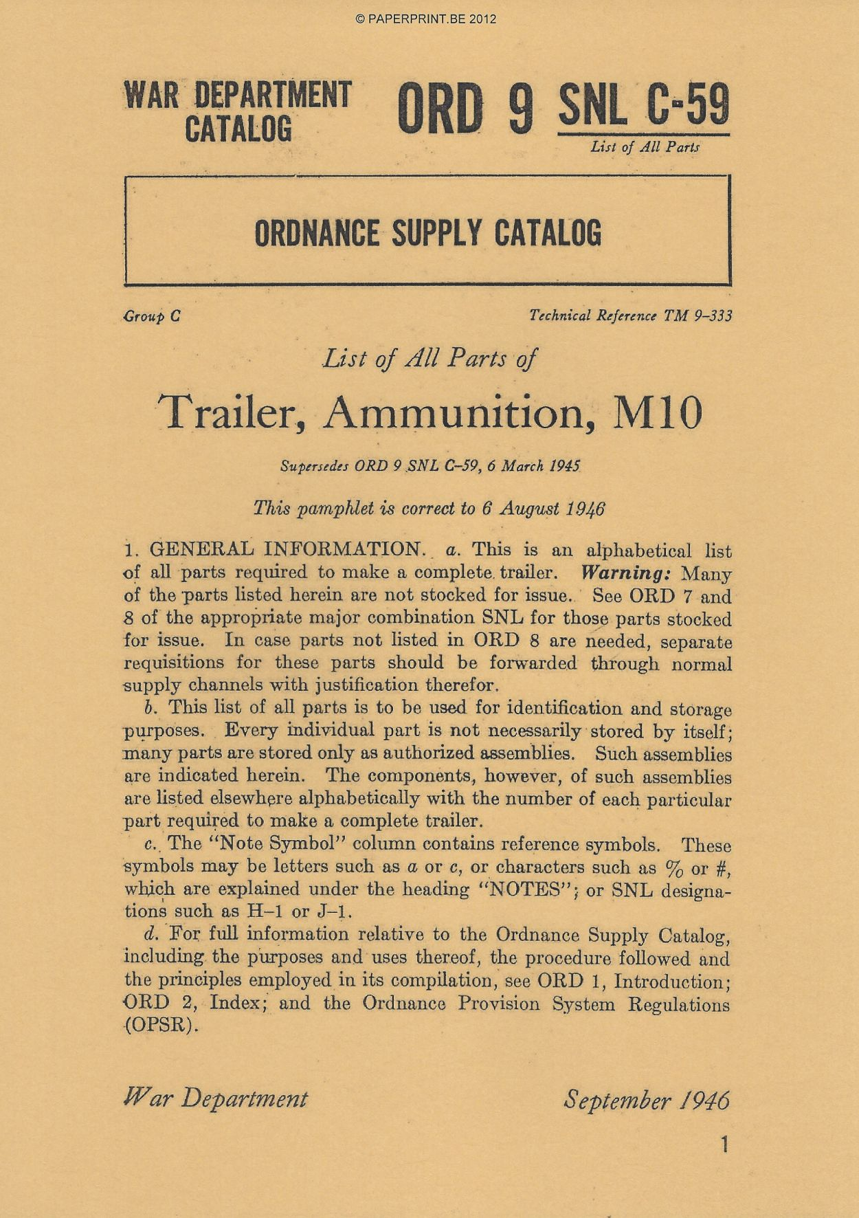 SNL C-59 US M10 AMMUNITION TRAILER PARTS LIST