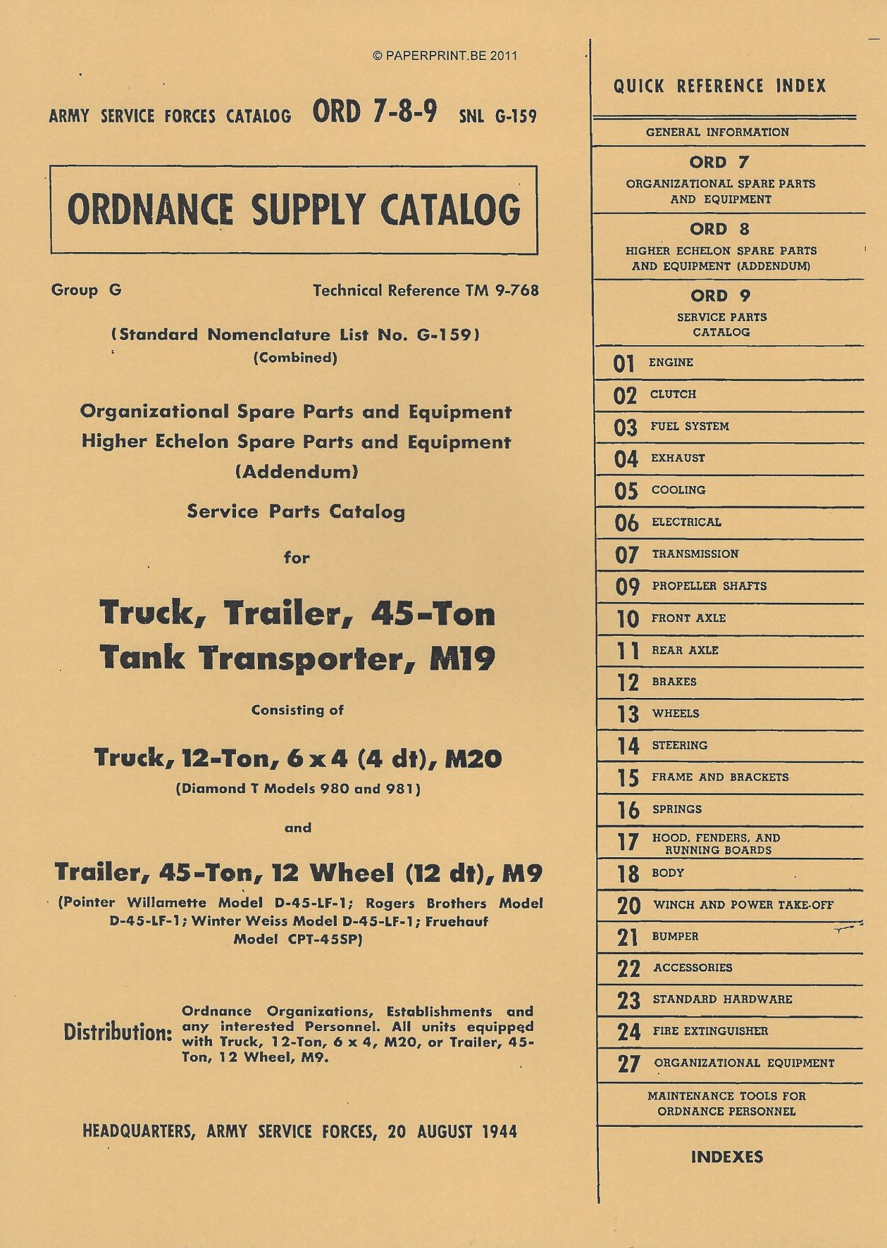 SNL G-159 US PARTS LIST FOR TRUCK, TRAILER, 45 TON, TANK TRANSPORTER, M19