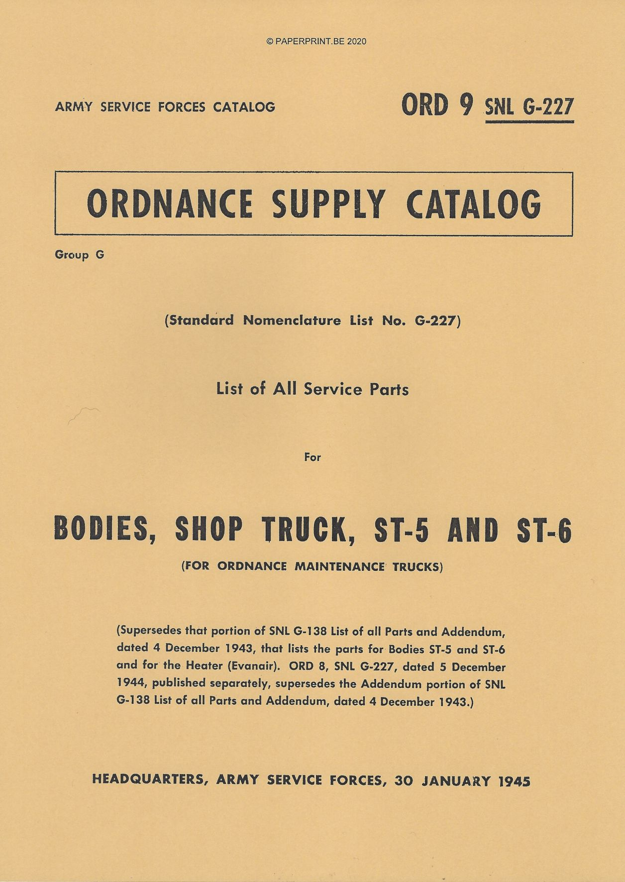 SNL G-227 US BODIES, SHOP TRUCK, ST-5 AND ST-6 PARTS LIST