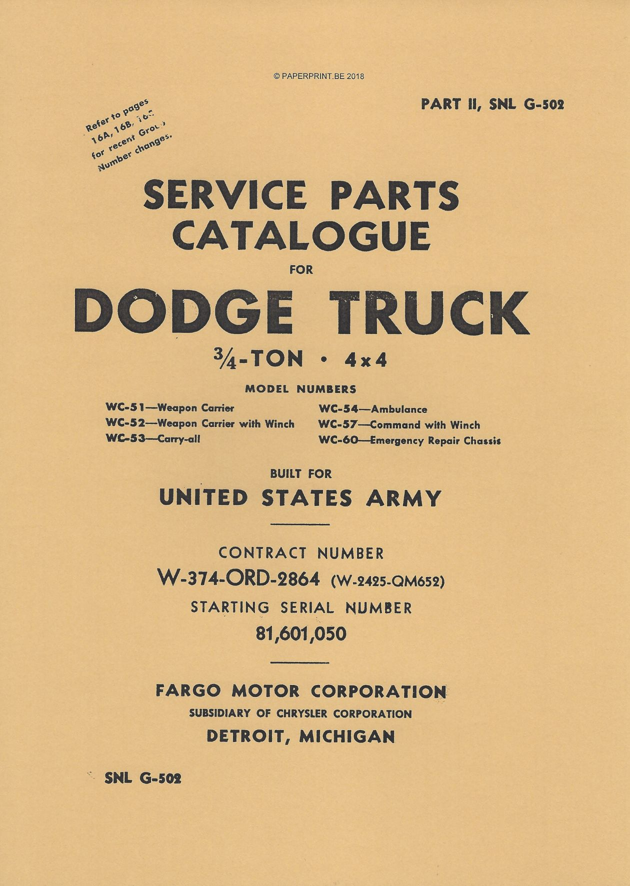 SNL G-502 EARLY SERVICE PARTS CATALOGUE FOR ¾ TON 4x4 DODGE WC
