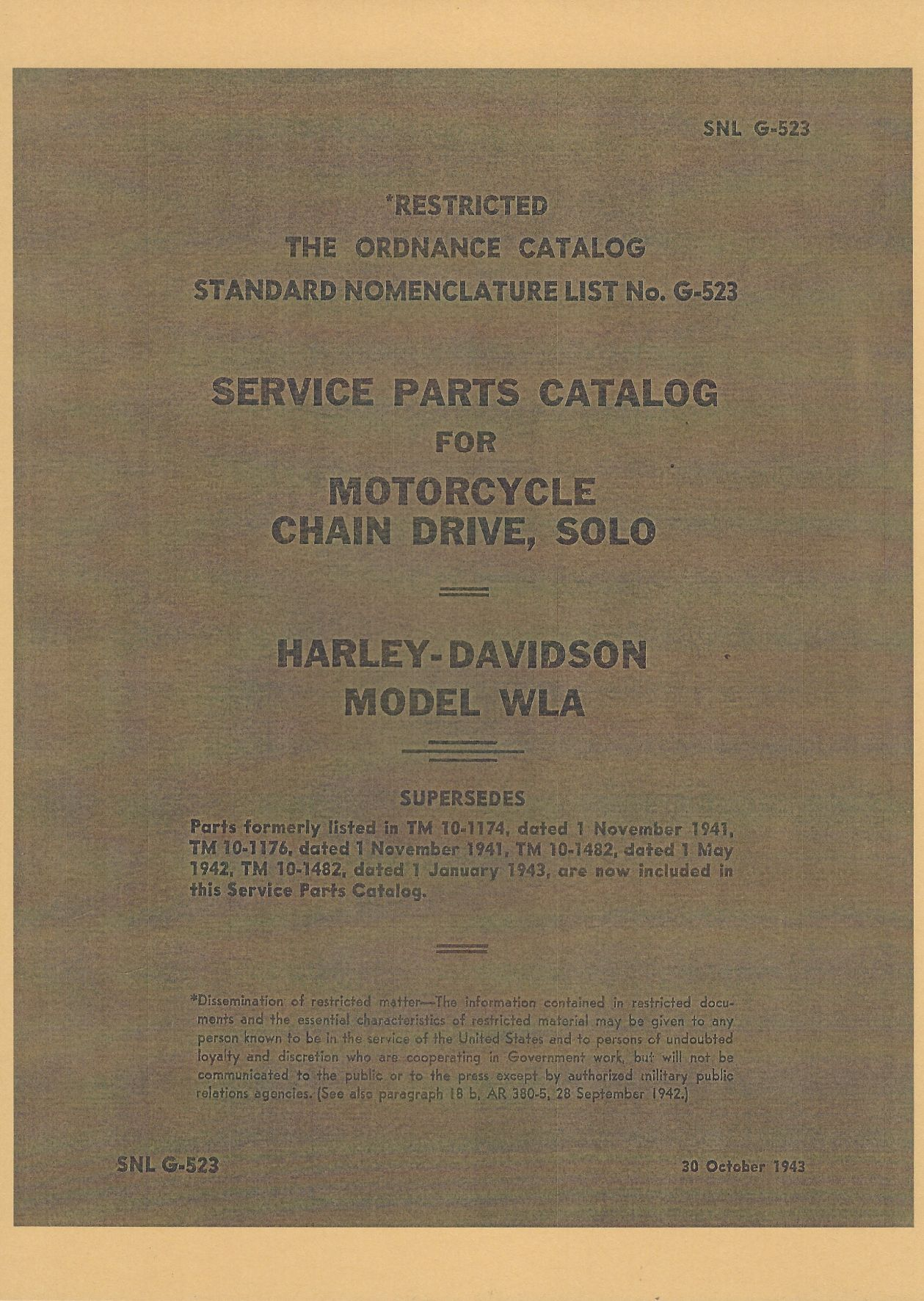 SNL G-523 US SERVICE PARTS CATALOG FOR MOTORCYCLE  CHAIN DRIVE, SOLO HARLEY-DAVIDSON MODEL WLA