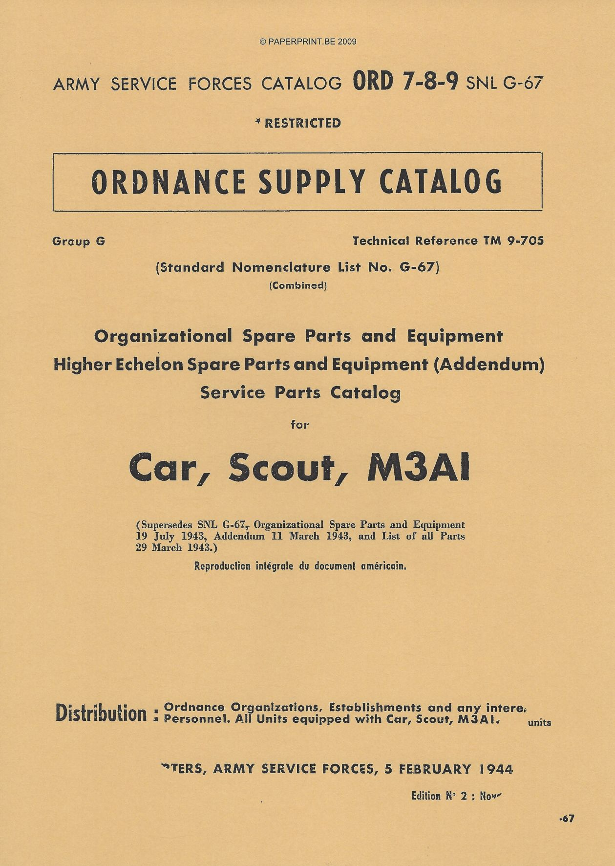 SNL G-67 US SERVICE PARTS CATALOG FOR CAR, SCOUT, M3A1