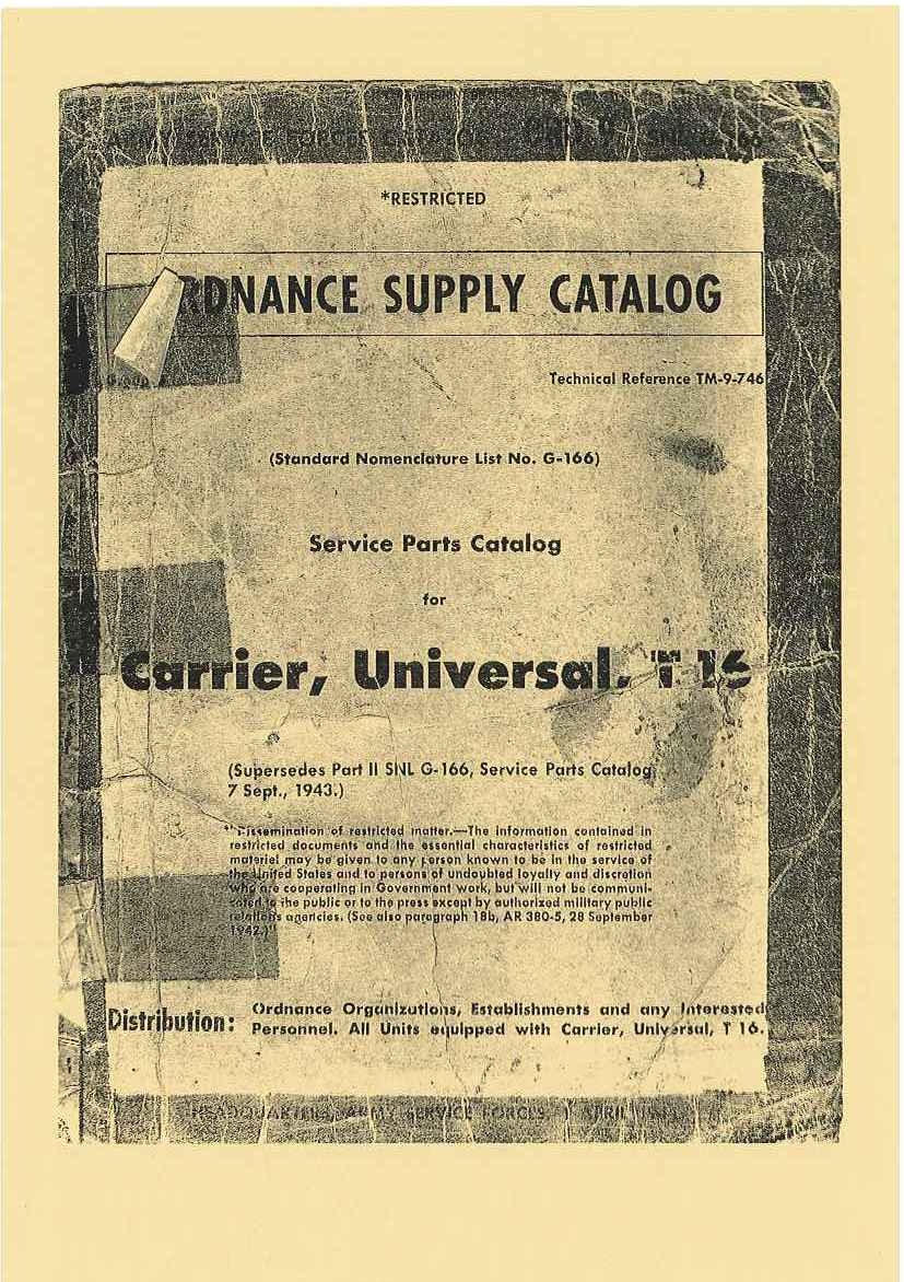 SNL G-166 US SERVICE PARTS CATALOG FOR UNIVERSAL CARRIER T16