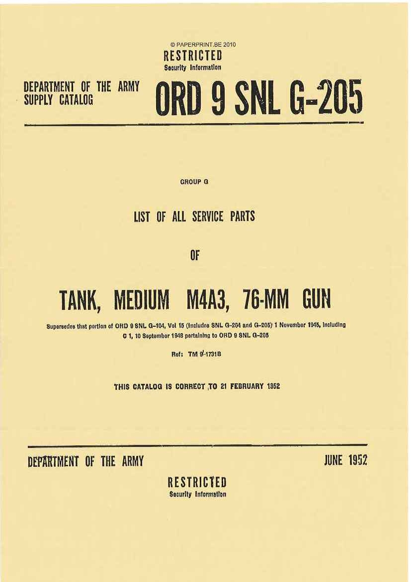 SNL G-205 US LIST OF ALL SERVICE PARTS OF TANK, MEDIUM M4A3, 76-MM GUN
