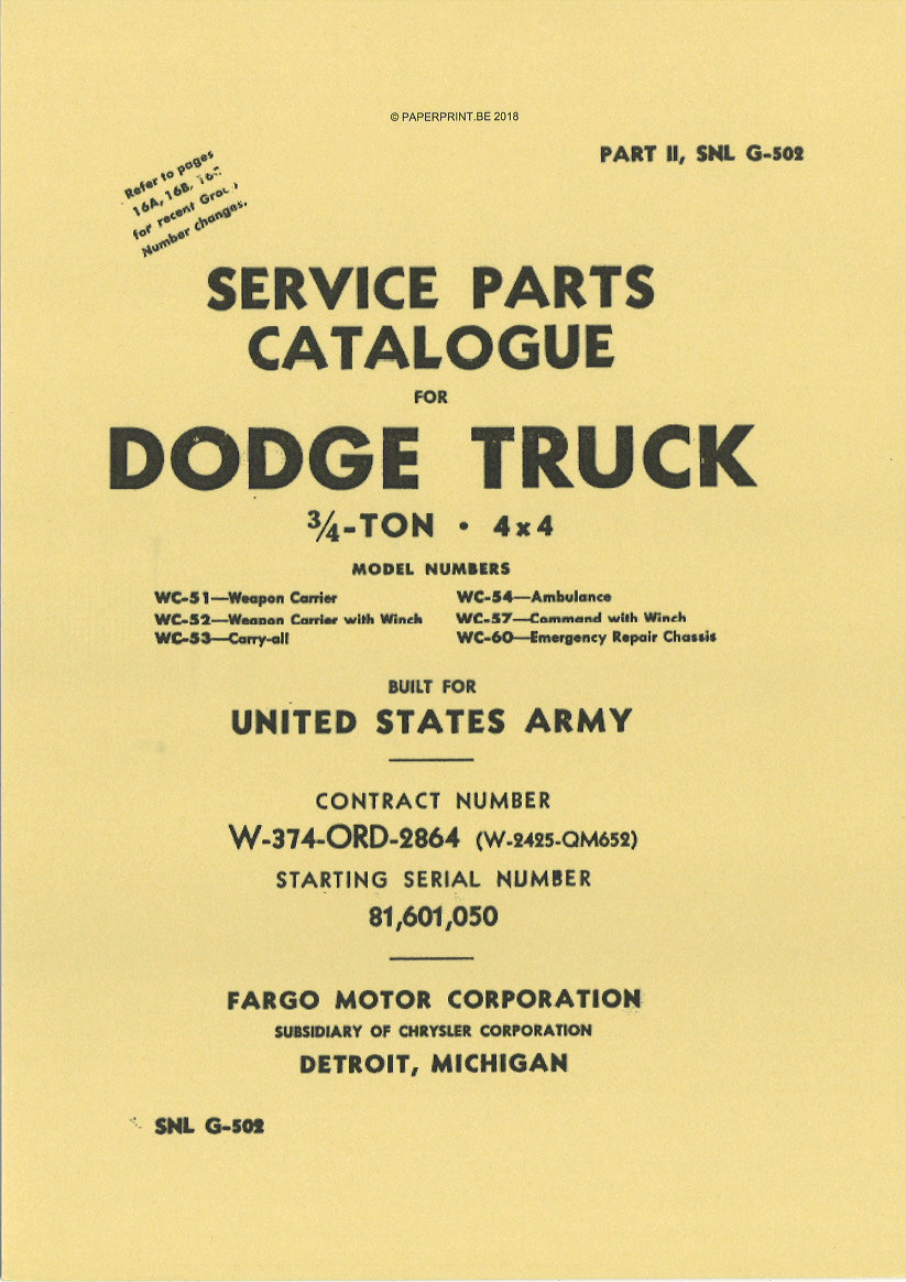 SNL G-502 EARLY SERRVICE PARTS CATALOGUE FOR ¾ TON 4x4 DODGE WC