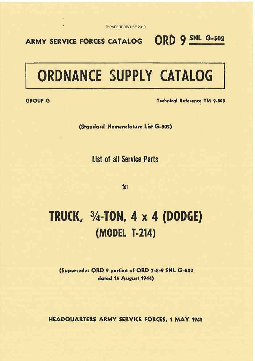 SNL G-502 US PARTS LIST FOR TRUCK, ¾ - TON, 4x4 (DODGE) (MODEL T-214)