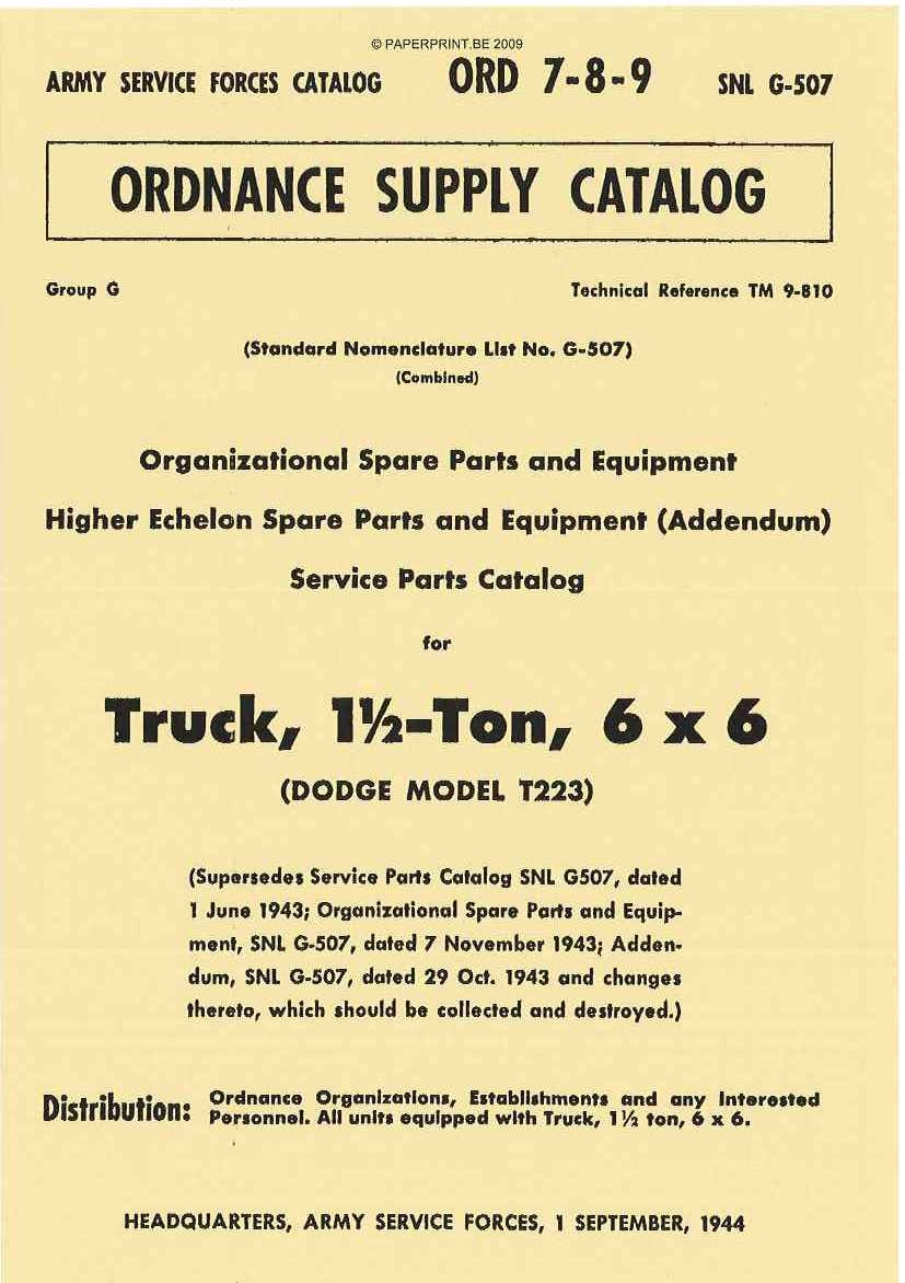 SNL G-507 US PARTS LIST FOR TRUCK, 1 ½ - TON, 6x6 (DODGE MODEL T223)