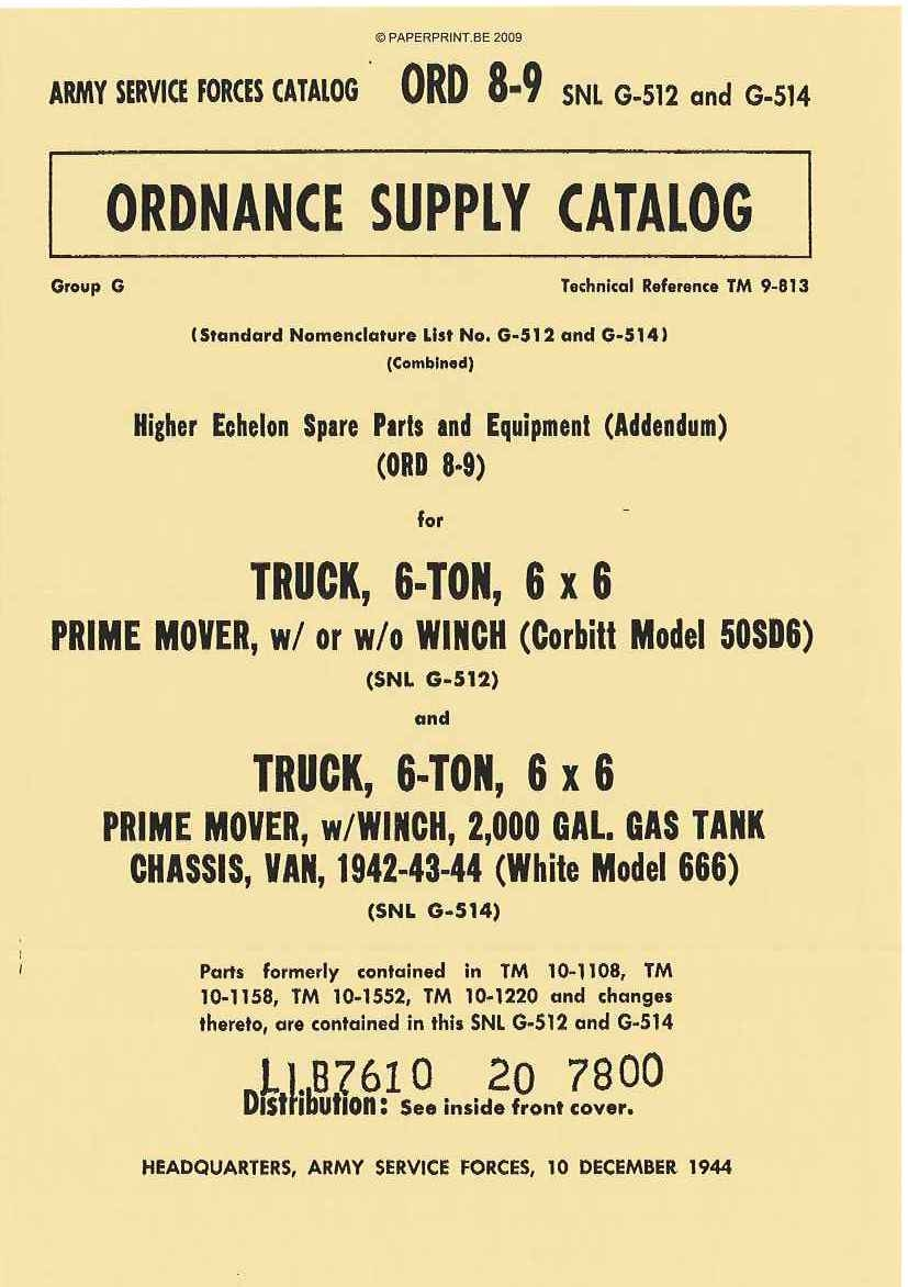 SNL G-512 AND G-514 PARTS LIST FOR TRUCK, 6- TON, 6x6 PRIME MOVER, W/ OR W/O WINCH (CORBITT MODEL 50SD6) AND PRIME MOVER, W/WINC
