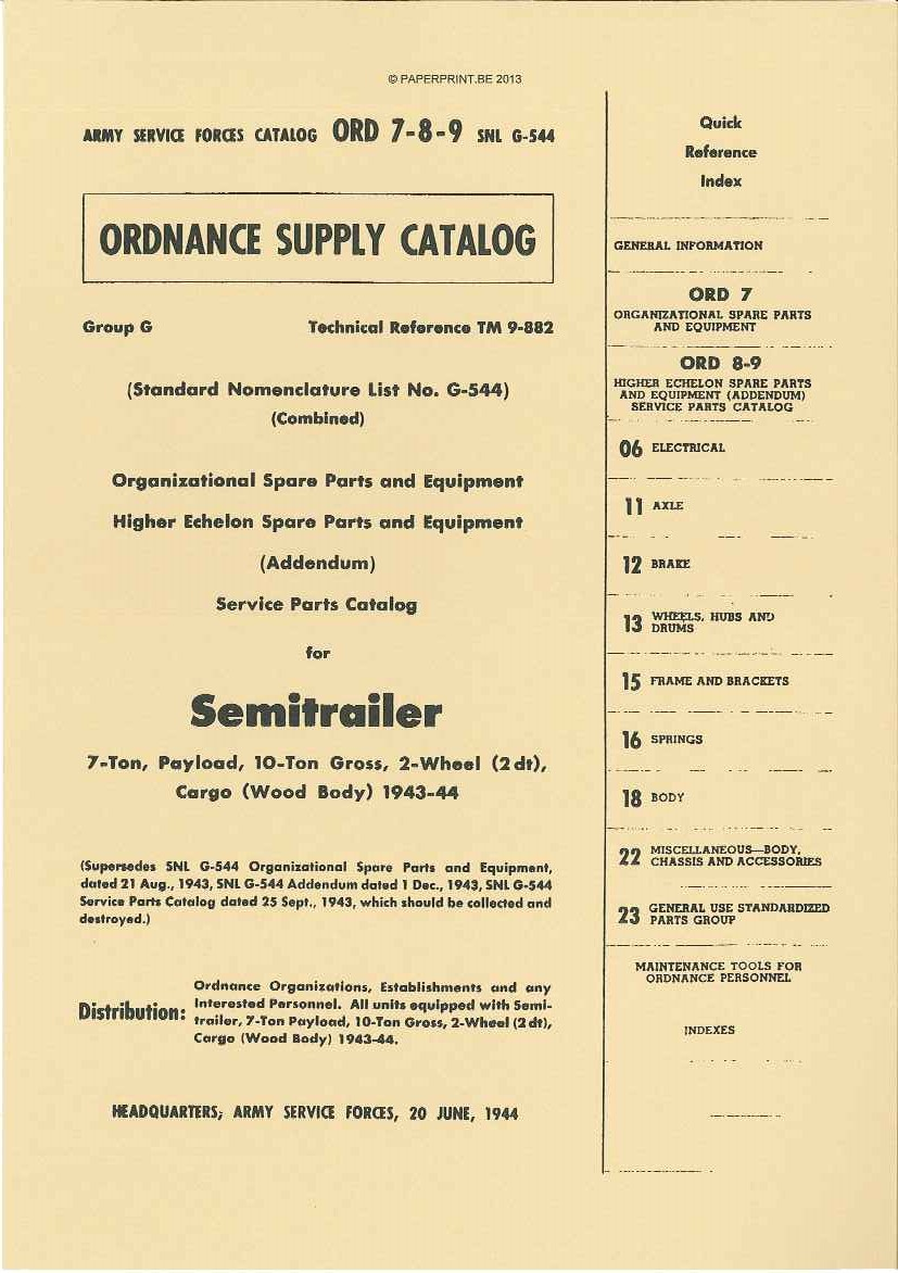 SNL G-544 US SERVICE PARTS CATALOG FOR SEMITRAILER 7-TON, PAYLOAD, 10-TON GROSS, 2-WHEEL (2DT), CARGO (WOOD BODY) 1943-44