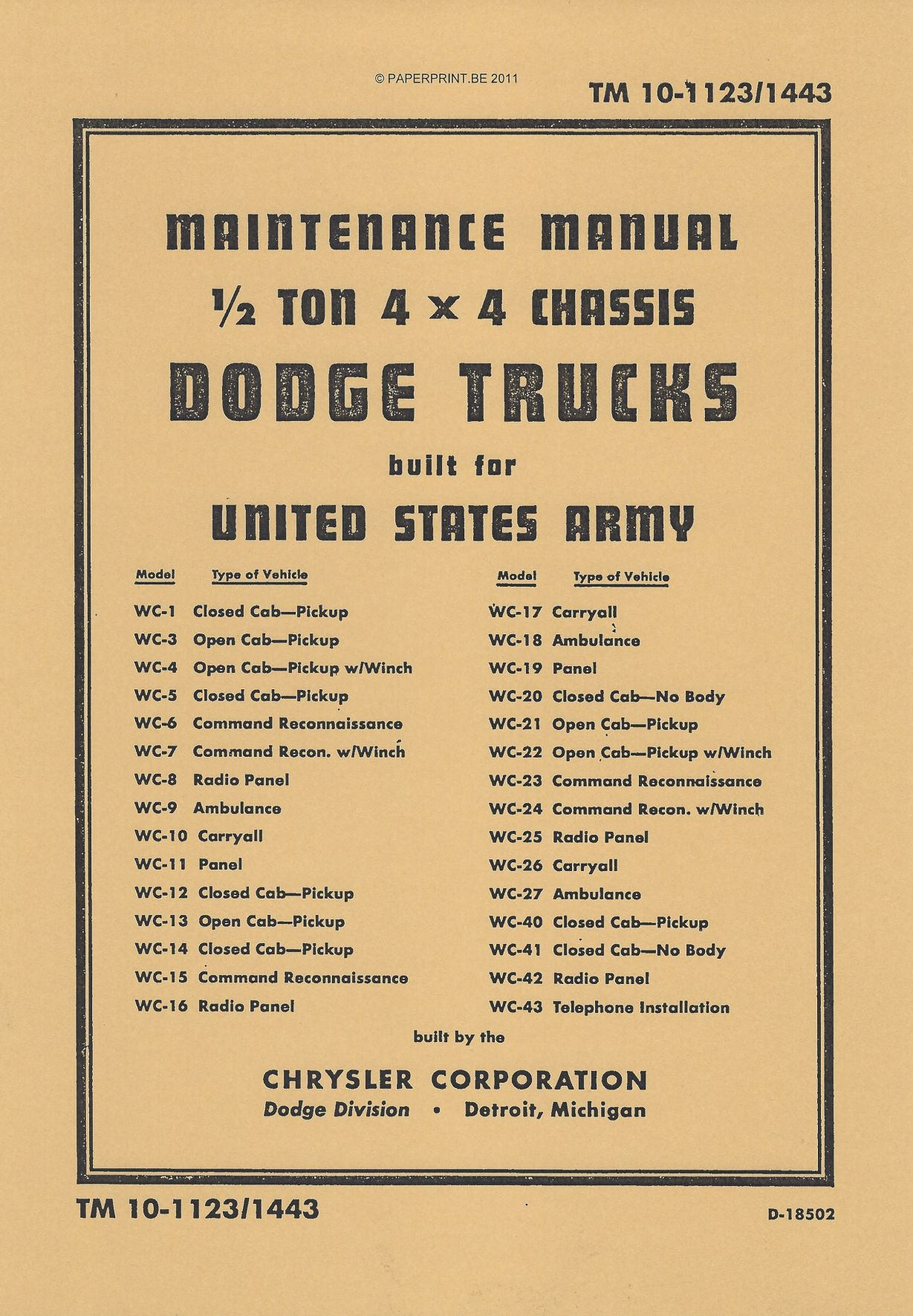 TM 10-1123/1443 US ½ TON 4x4 CHASSIS DODGE TRUCKS