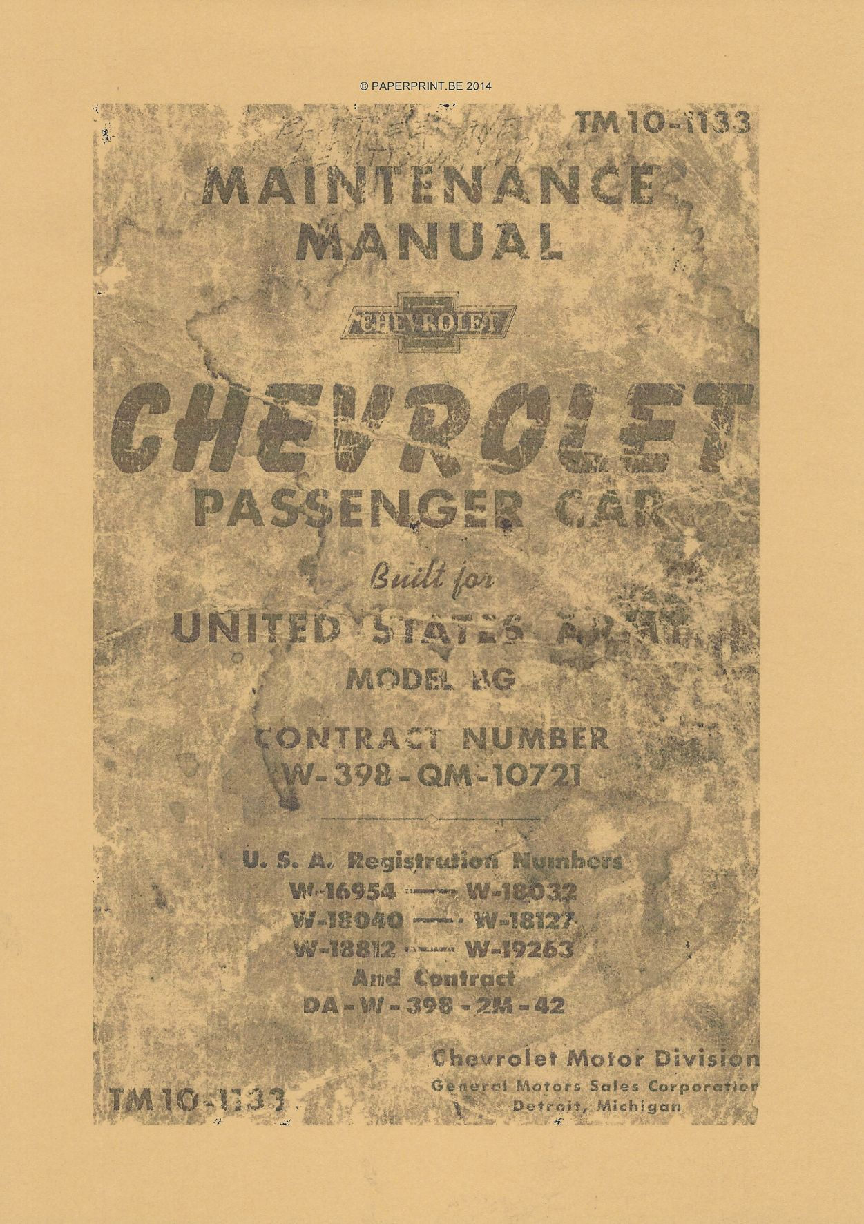 TM 10-1133 US MAINTENANCE MANUAL CHEVROLET PASSENGER CAR