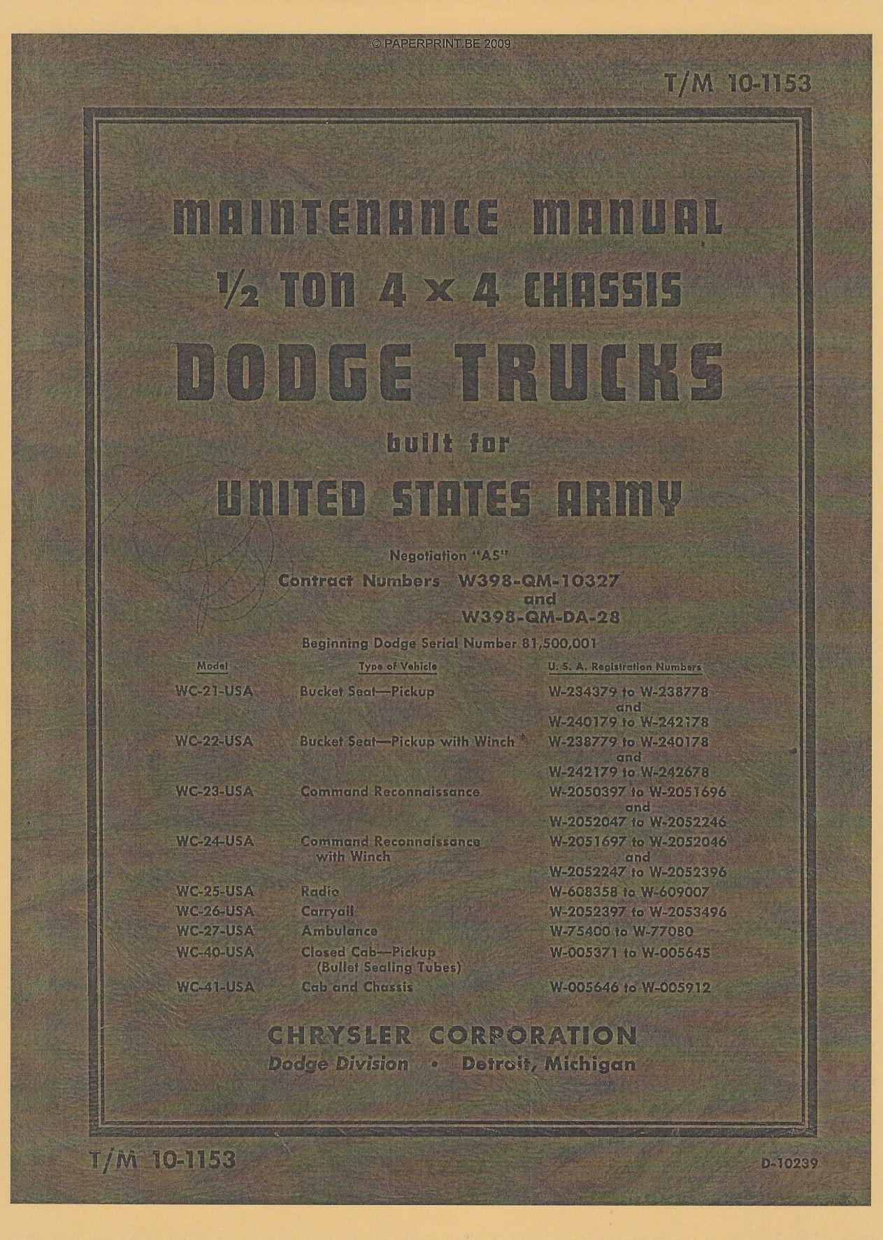 TM 10-1153 US ½ TON 4x4 CHASSIS DODGE TRUCKS