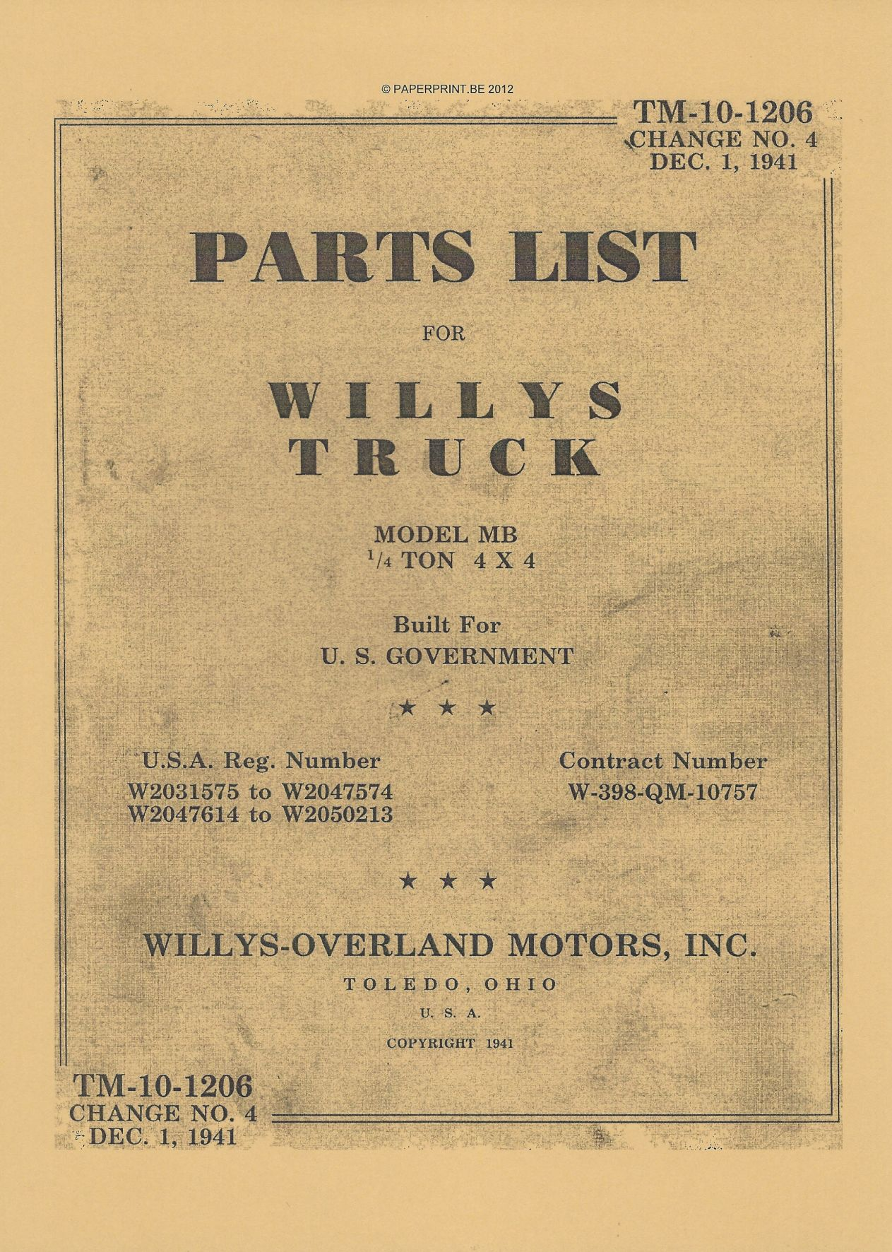 TM 10-1206 US PARTS LIST FOR WILLYS MB