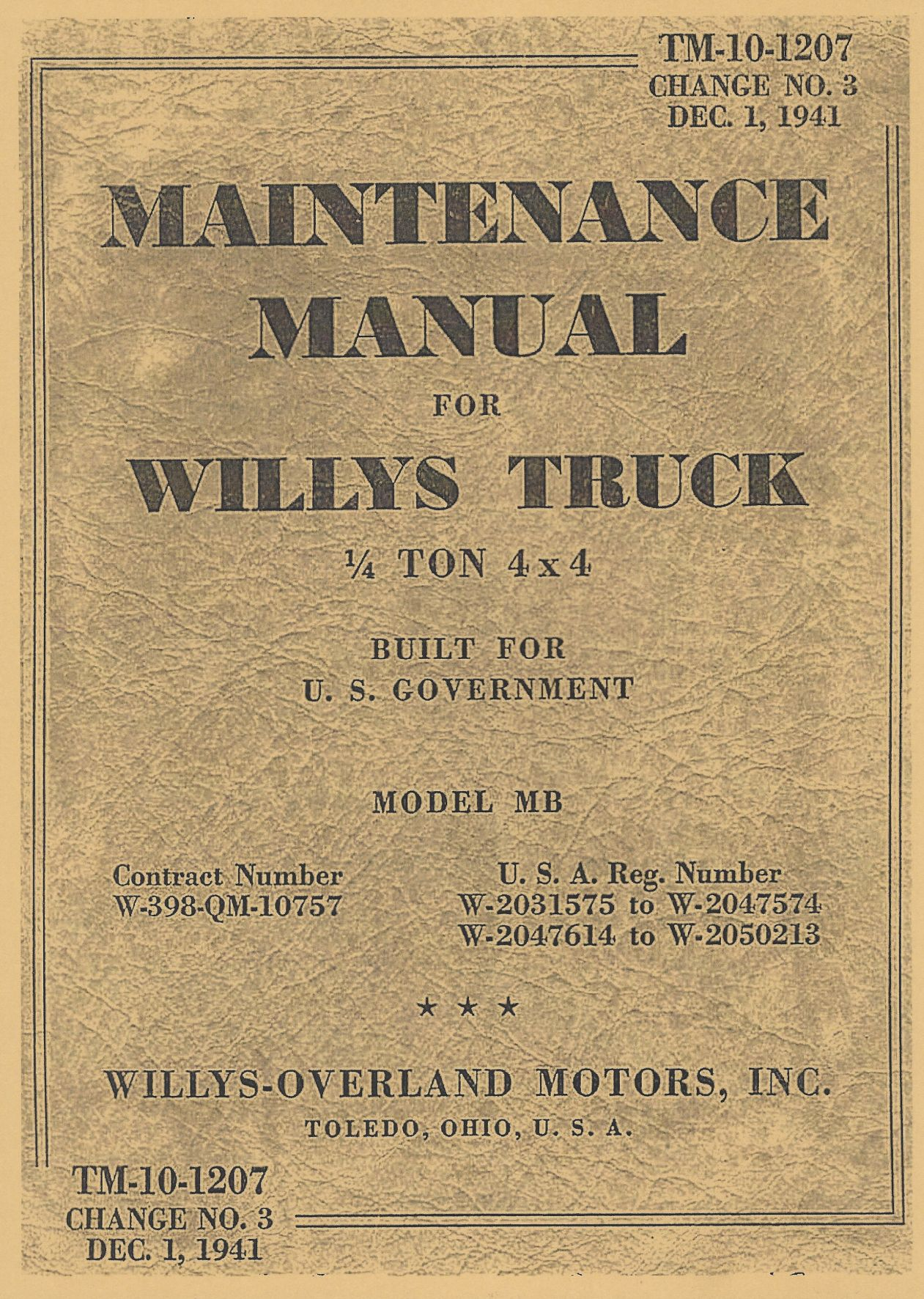 TM 10-1207 US MAINTENANCE MANUAL FOR WILLYS MB
