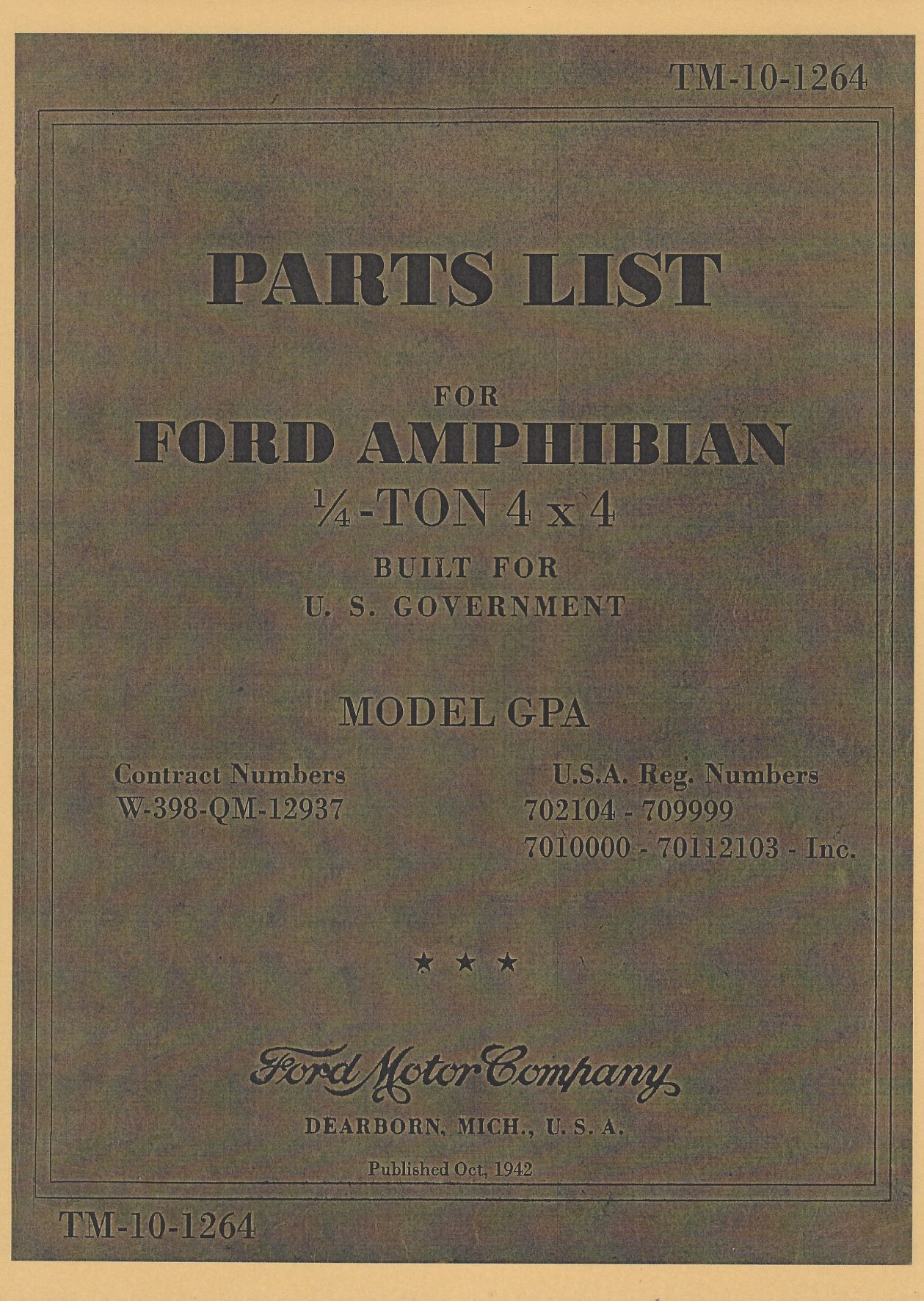 TM 10-1264 US PARTS LIST FOR FORD AMPHIBIAN ¼ - TON 4x4
