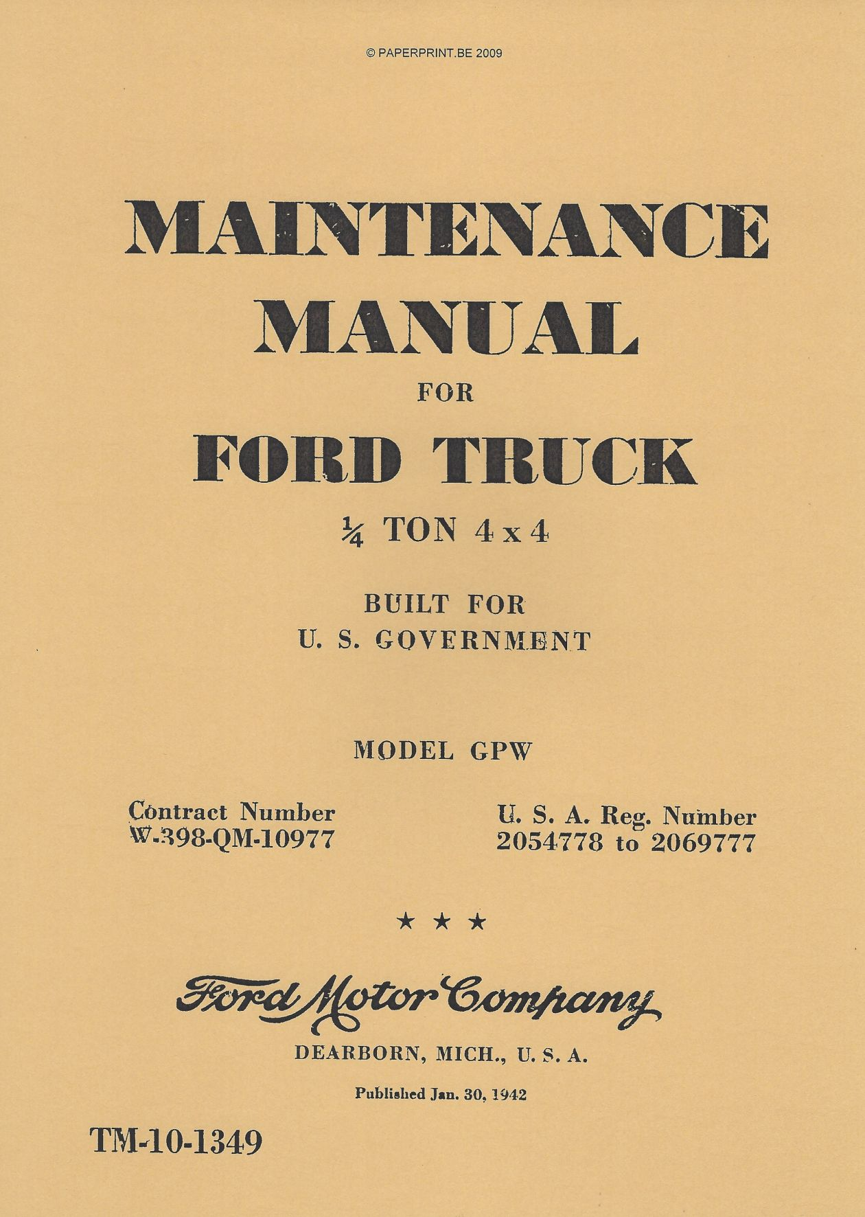 TM 10-1349 US MAINTENANCE MANUAL FOR FORD TRUCK ¼ TON 4x4