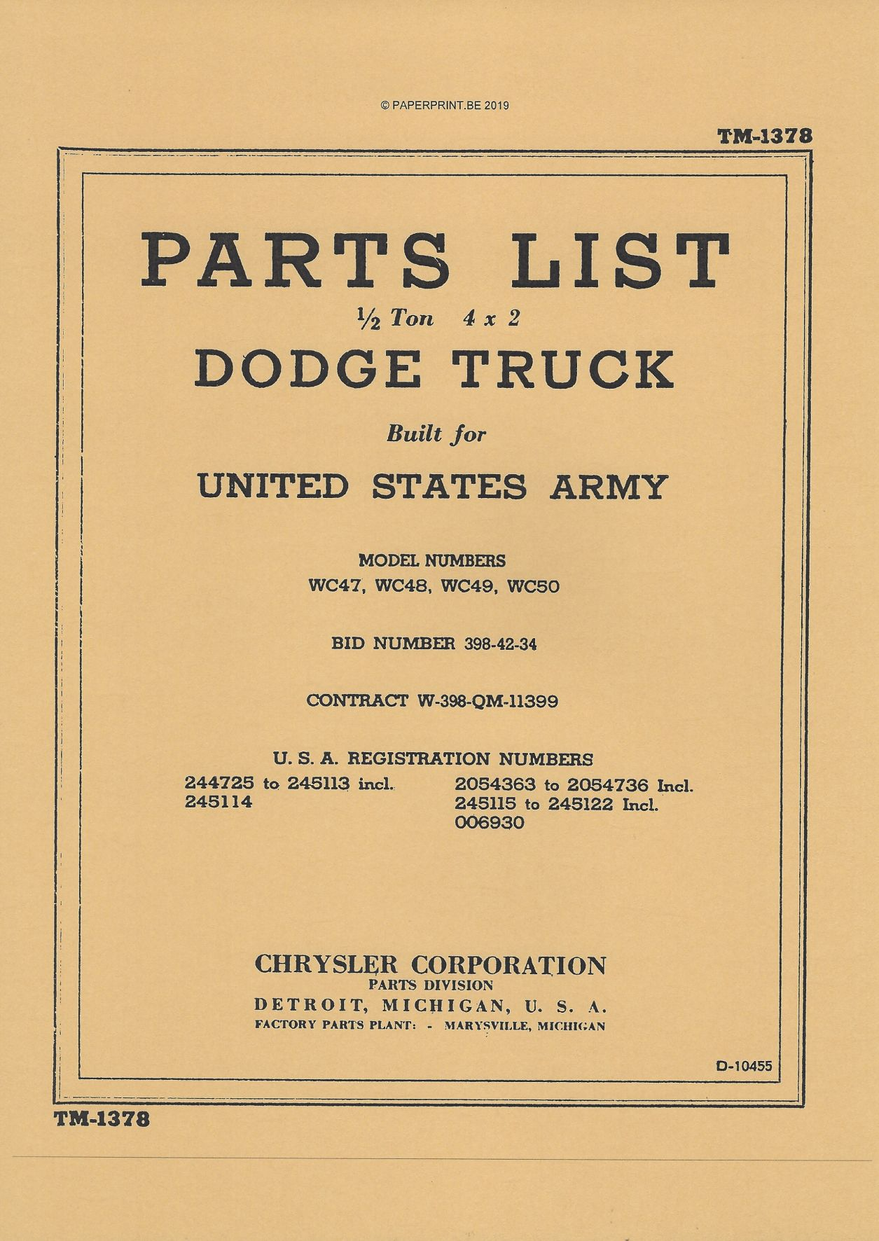 TM 10-1378 US DODGE ½ TON 4x2 PARTS LIST