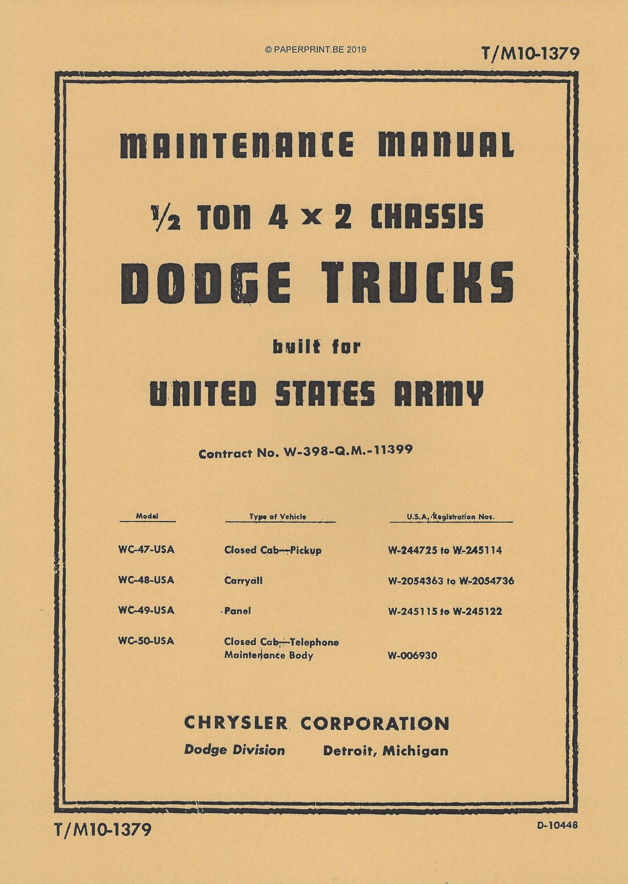 TM 10-1379 US DODGE ½ TON 4x2 MAINTENANCE MANUAL