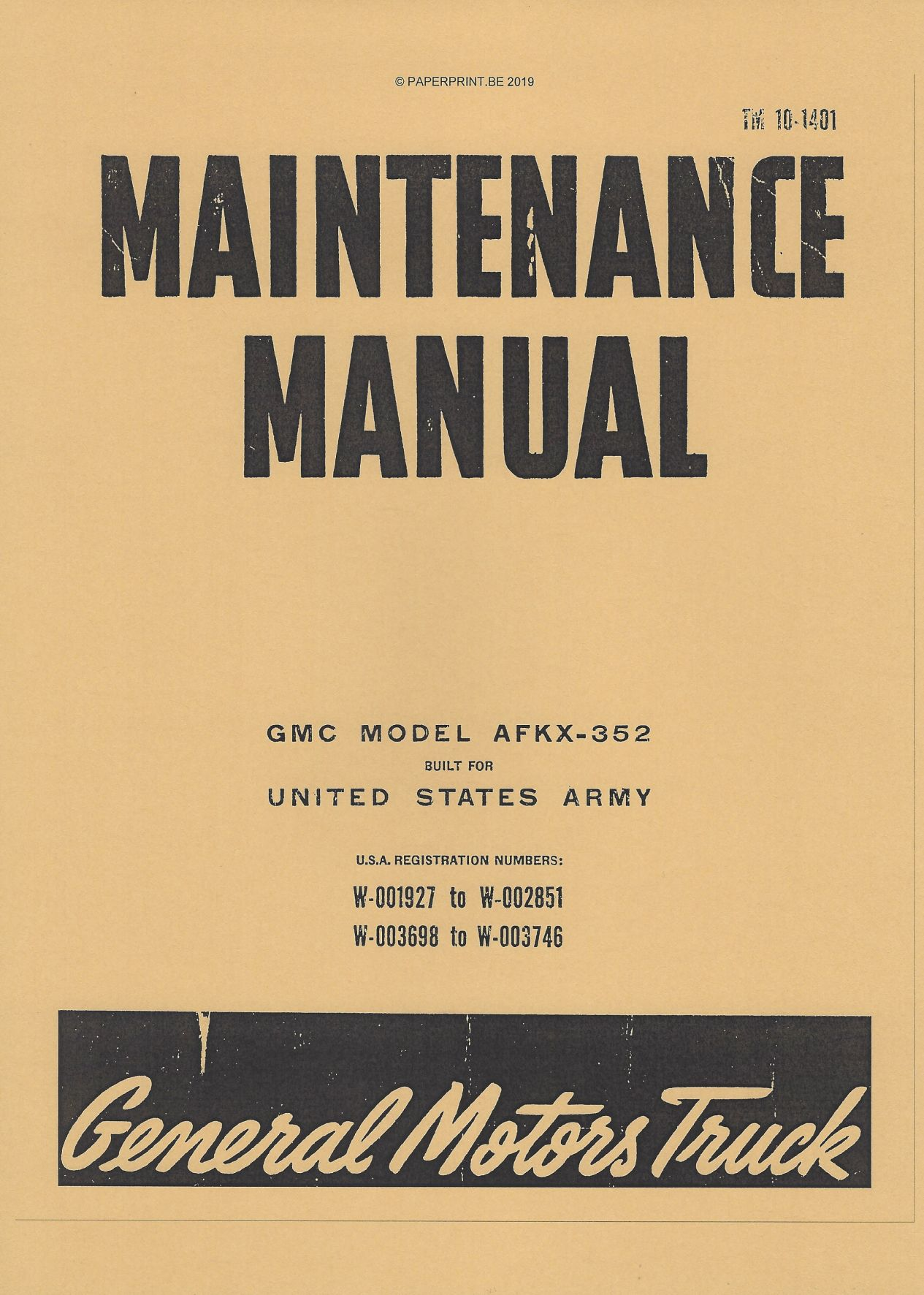 TM 10-1401 US GMC AFKX-352  MAINTENANCE MANUAL