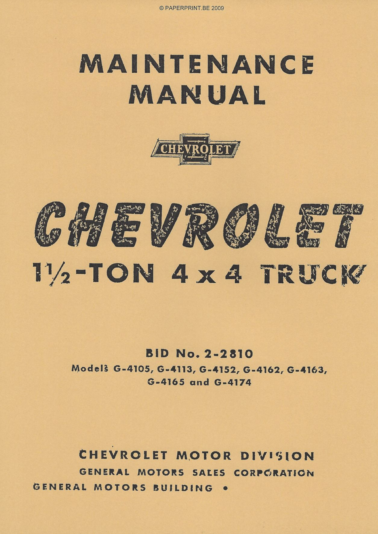 TM 10-1431 US CHEVROLET 1 ½-TON 4x4 TRUCK MAINTENANCE MANUAL
