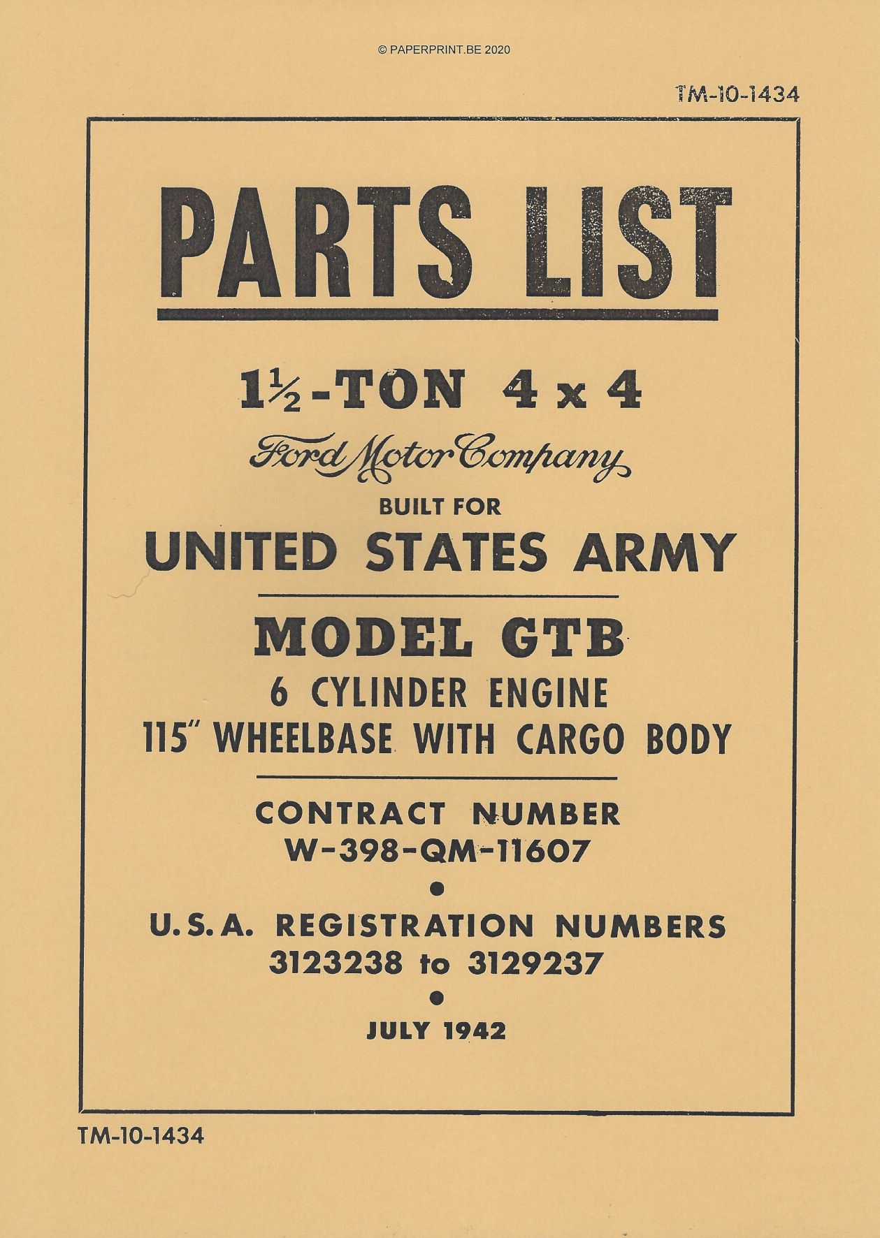 TM 10-1434 FORD GTB PARTS LIST US