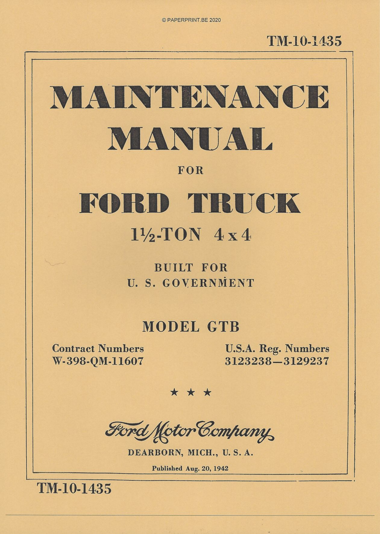 TM 10-1435 US FORD GTB MAINTENANCE MANUAL