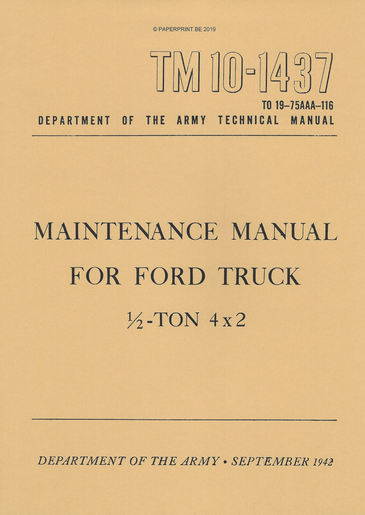 TM 10-1437 US FORD TRUCK ½ TON 4x2 MAINTENANCE MANUAL