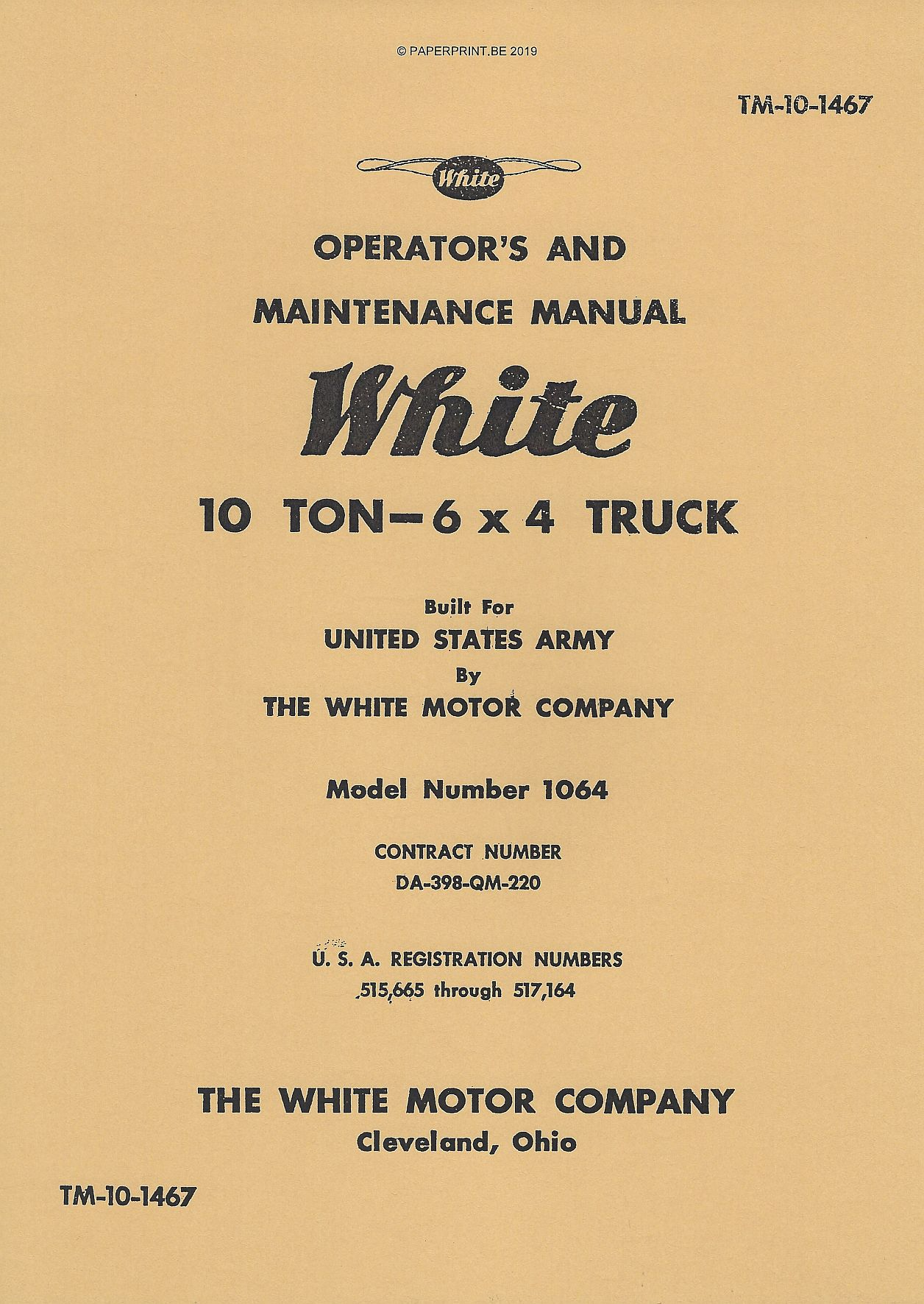 TM 10-1467 US WHITE 6x4 MODEL 1064 OPERATORS AND MAINTENANCE MANUAL